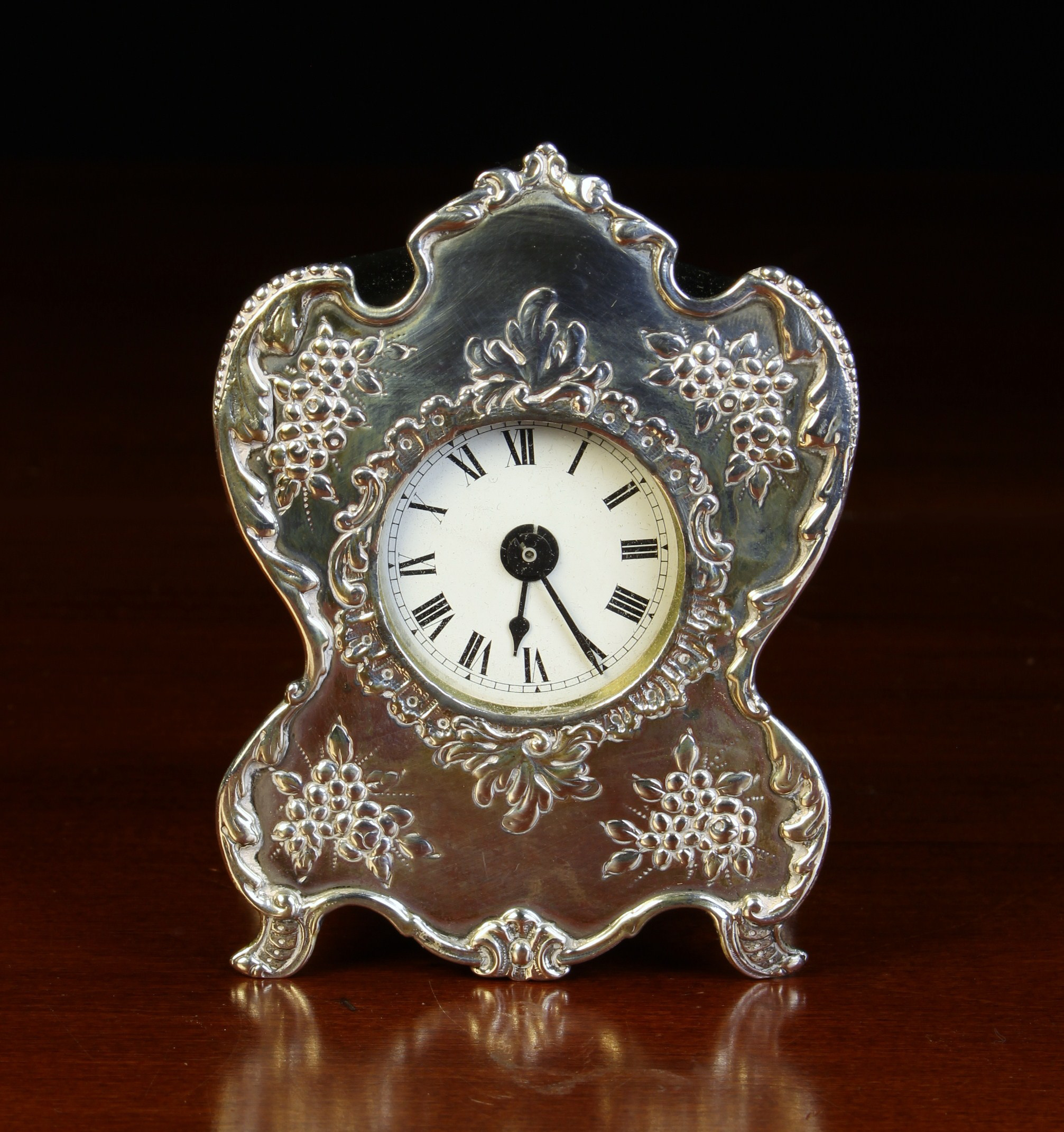 A Small Victorian Silver Cased Boudoir Clock/Watch Holder by William Comyns & Sons,