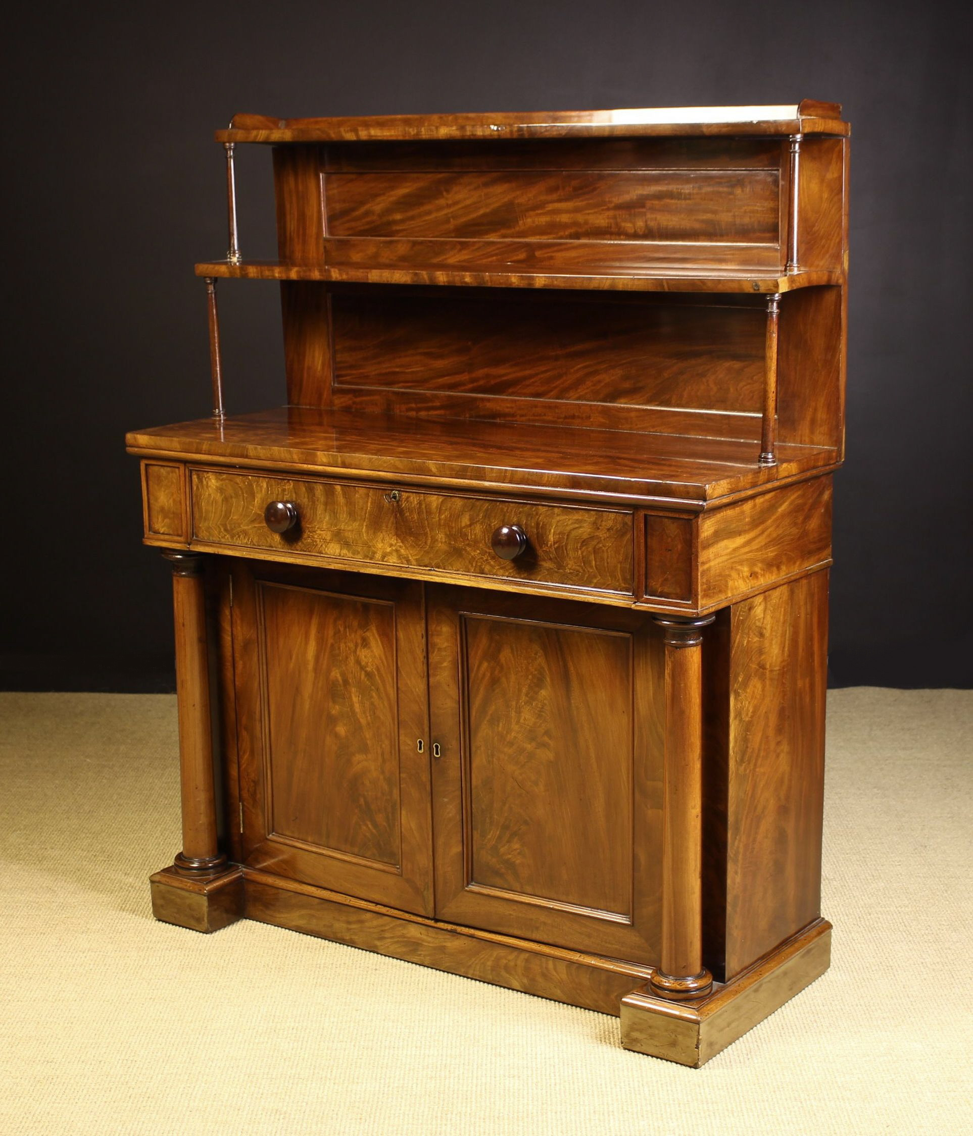 A Fine Mid 19th Century Flame Mahogany Chiffonier with Secrètaire.