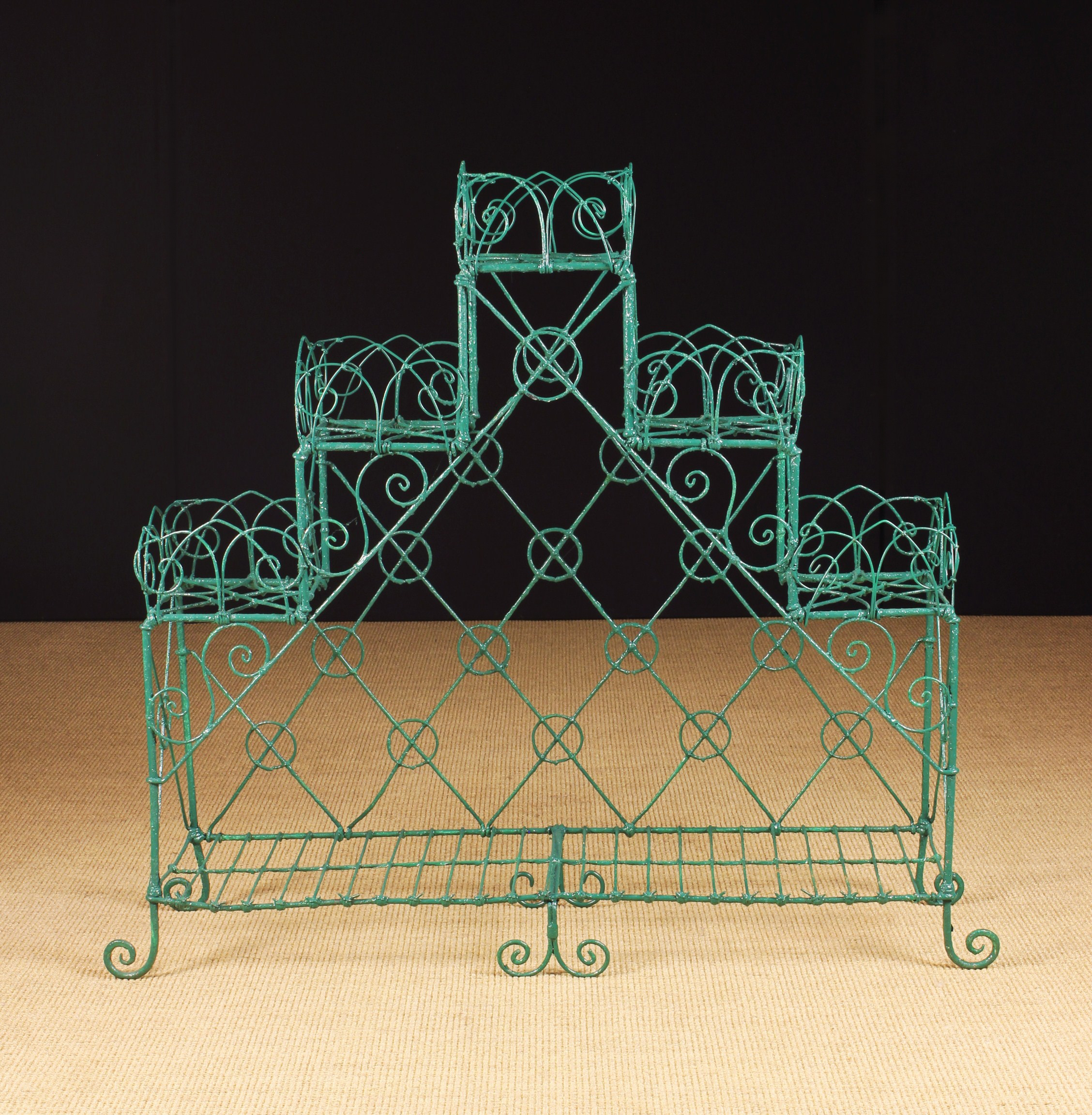 A 19th Century Wirework Plant Stand, painted green. - Image 2 of 2