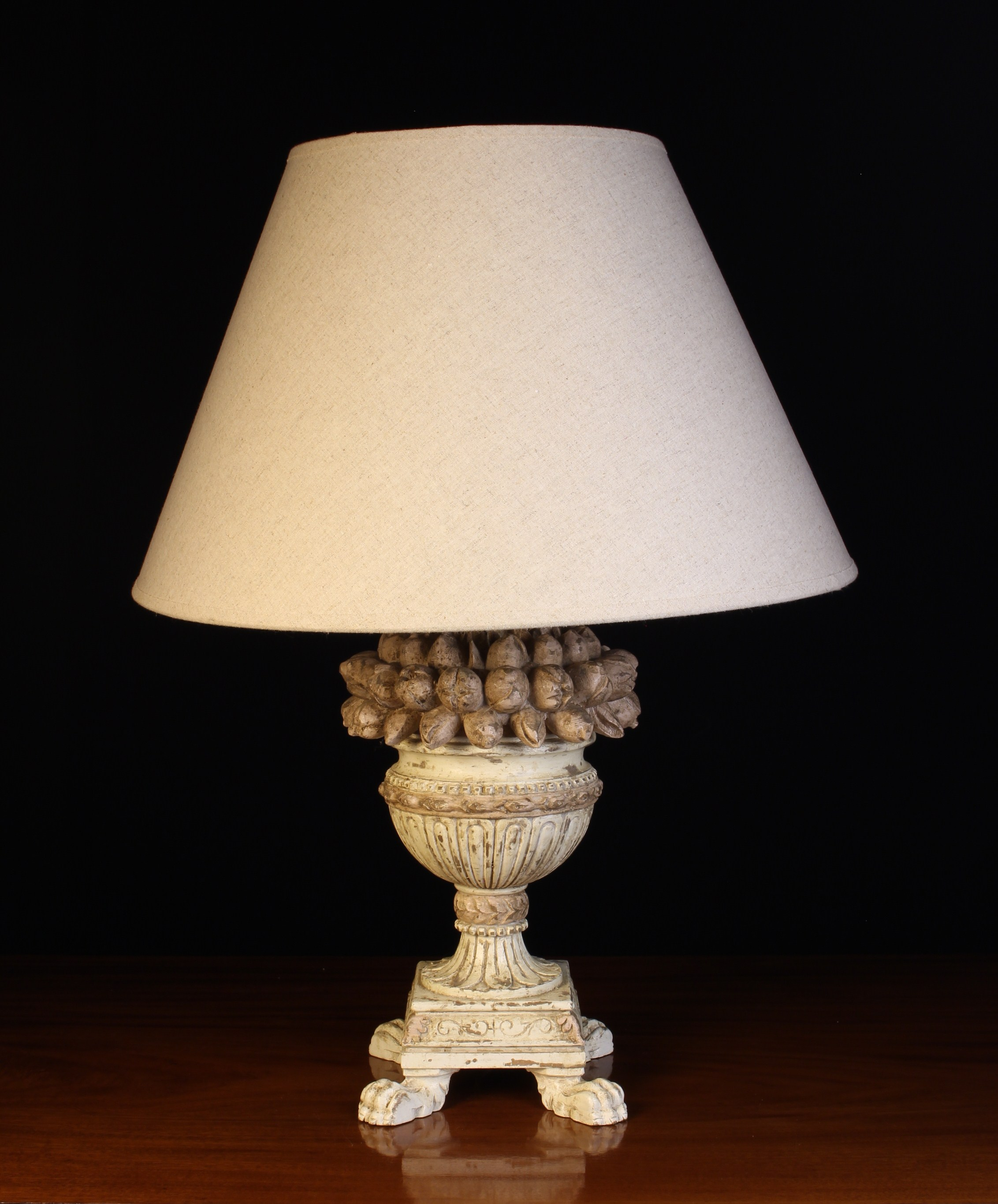 A Decorative Wooden Table Lamp with distressed white paint-work and an ecru linen shade. - Image 2 of 3