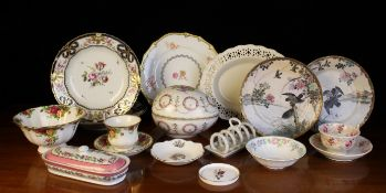 A Collection of Decorative China: A Dresden egg-shaped box decorated with a bouquet of flowers to