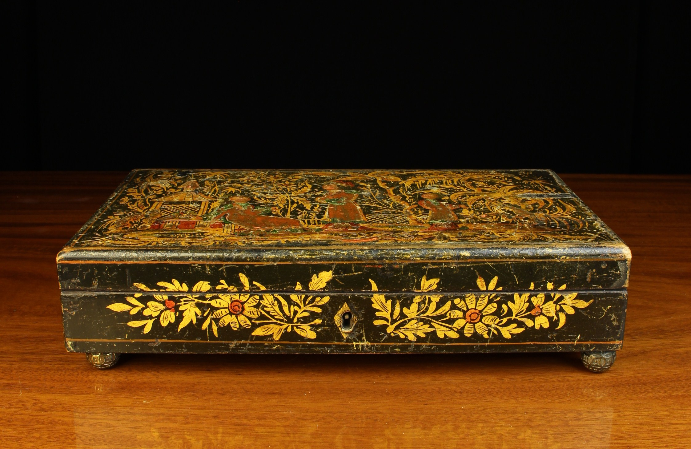 A Georgian Japanned Box of rectangular form. - Image 2 of 3