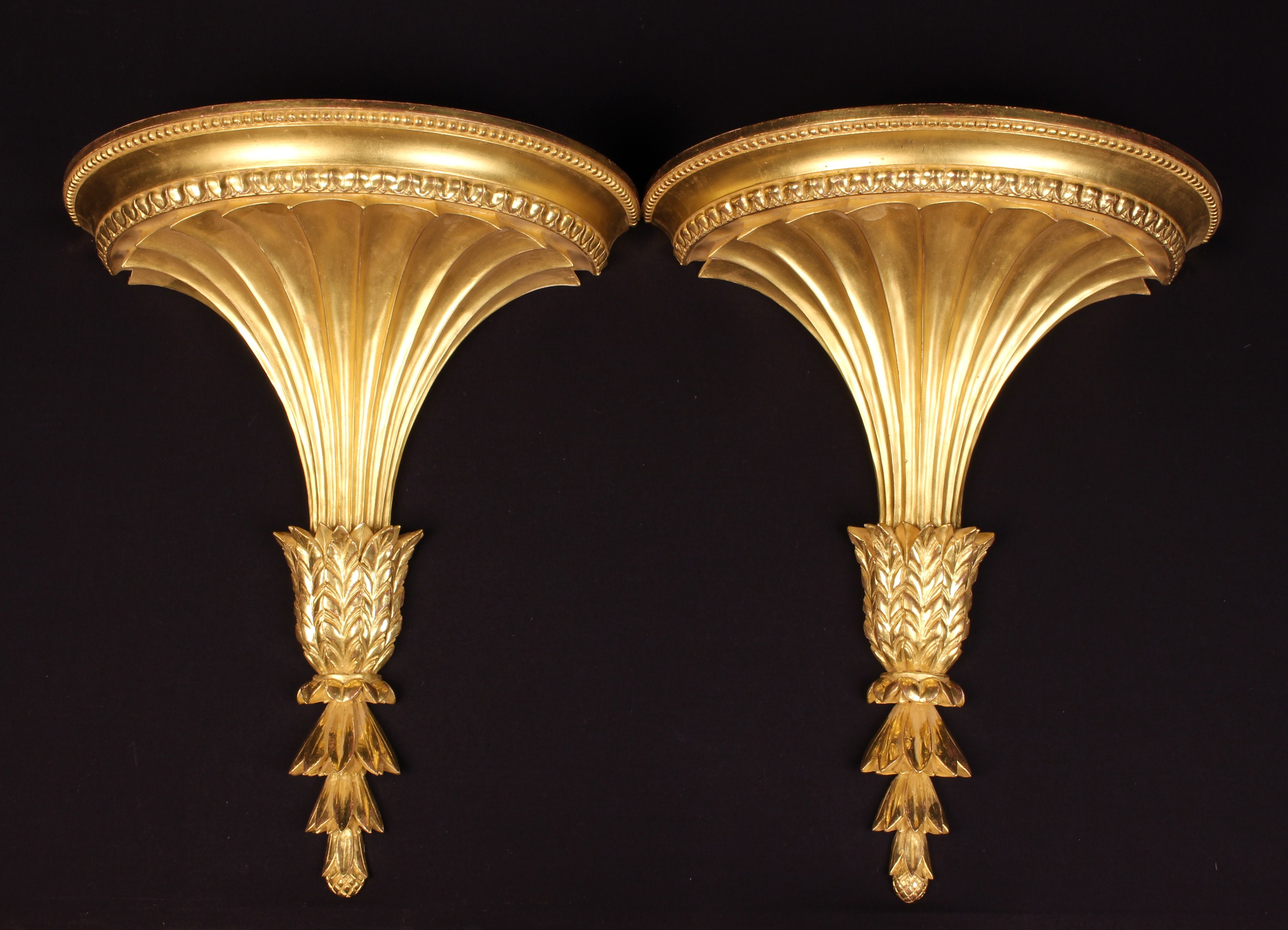 A Pair of Impressive Carved & Gilded Wooden Wall Brackets; Copies of Adam Originals.
