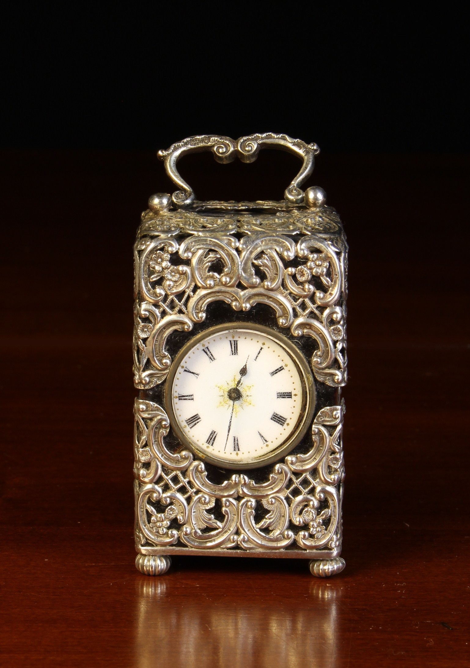 A Small Victorian Silver Mounted Tortoiseshell Carriage Clock with hallmarks for London 1893. - Image 2 of 3