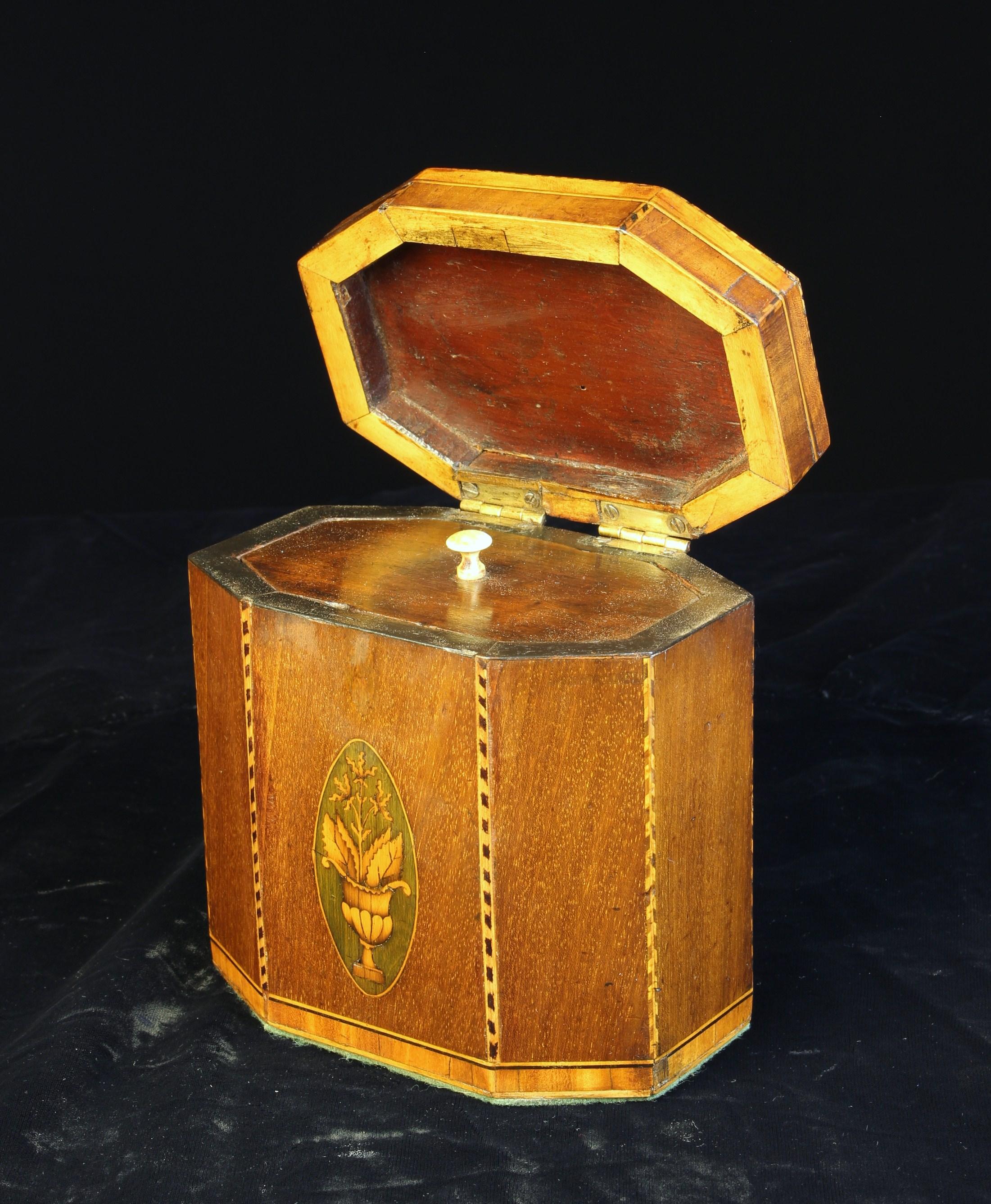 A George III Mahogany & Satinwood-banded Tea Caddy of octagonal form. - Image 3 of 3