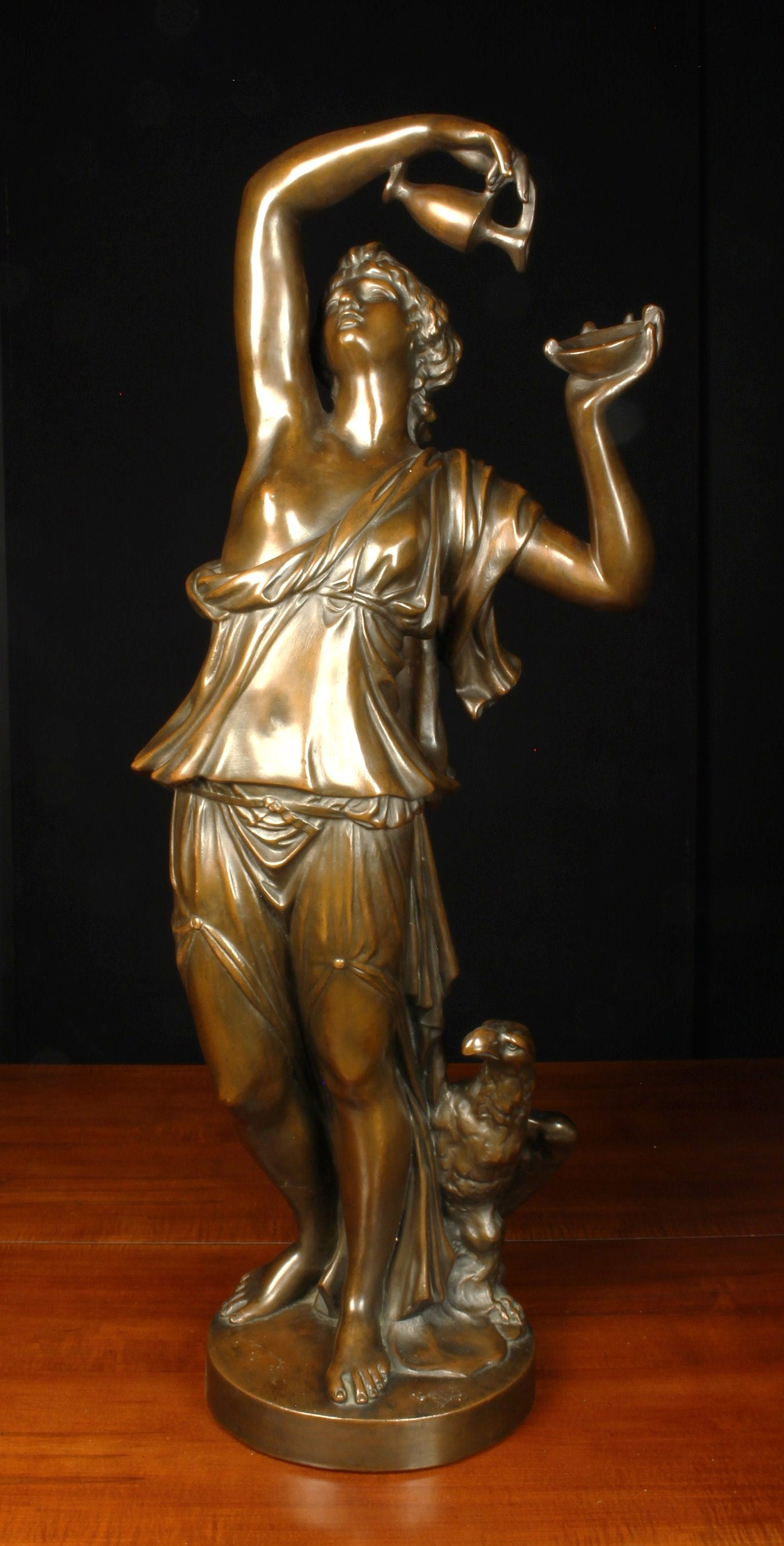 A Bronze Patinated Copper Clad Plaster Cast Figure of a nymph holding aloft an annointing ewer & - Image 3 of 3
