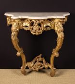 A Louis XV Style Carved Giltwood Console Table.