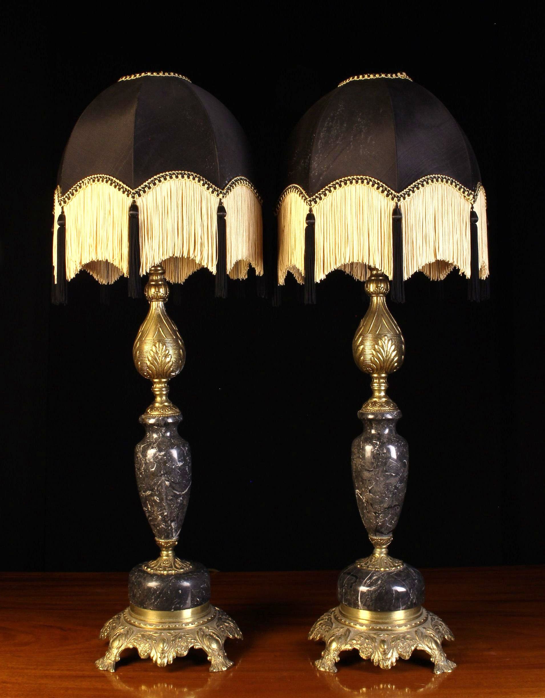A Pair of Ornamental Cast Brass and 'Petit Granit' Marble Side Lamps with ornately cast stems