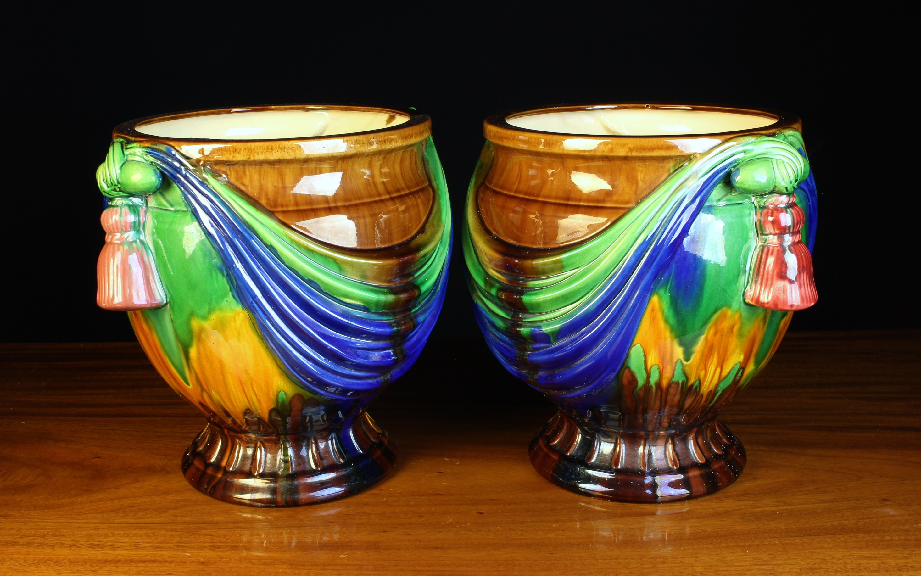 A Pair of Vintage Majolica Jardinieres moulded with swagged drapery between pendant tassels either - Image 2 of 2