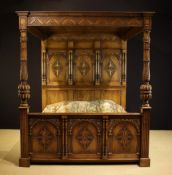 A Bespoke, Carved Oak Super King-Sized Full Tester Bed in the Tudor Style.