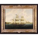 A 19th Century Oil on Canvas: A Marine Painting depicting a three masted sailing vessel off coast,