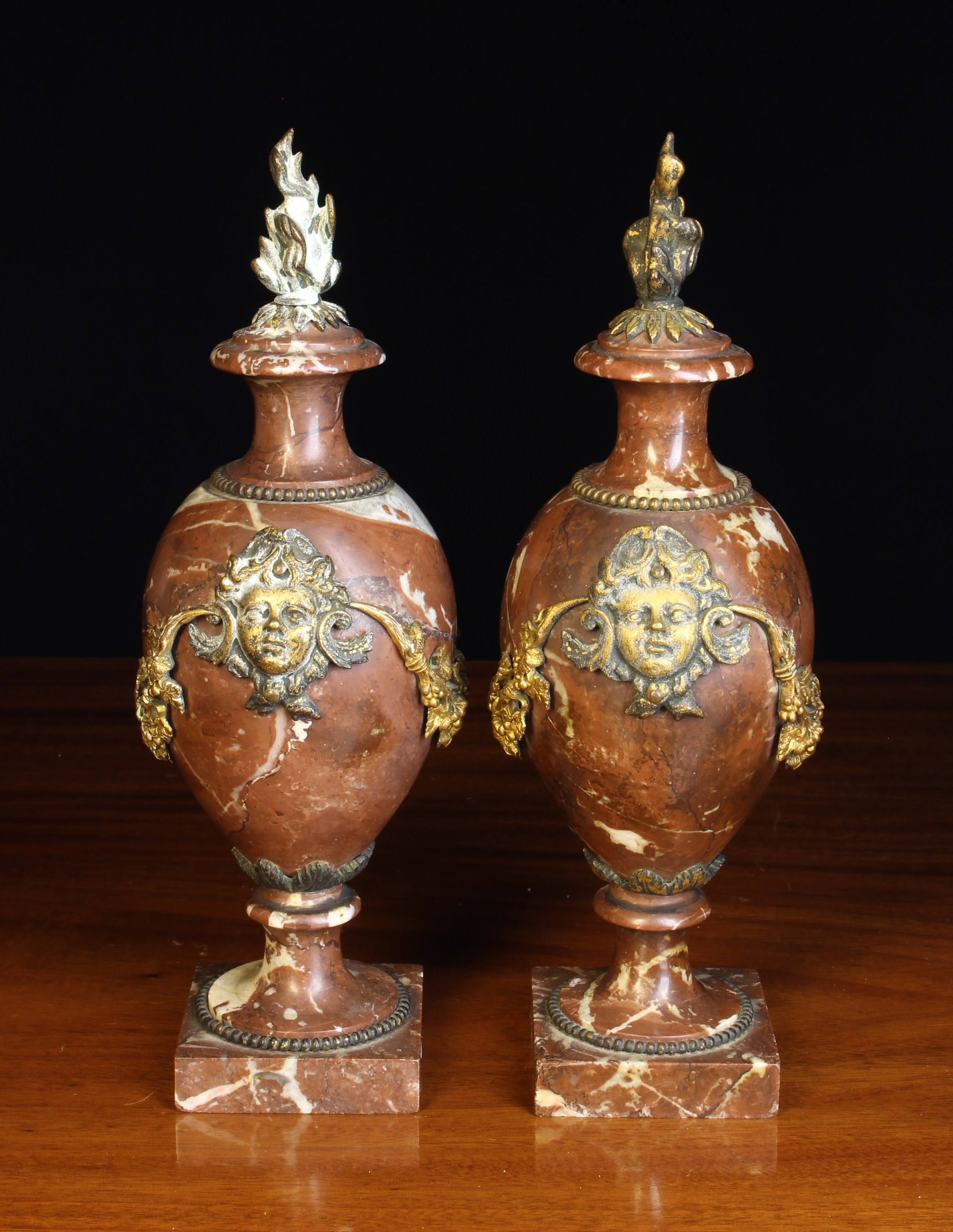 A Pair of Small 19th Century Rouge Marble Cassolettes with gilt metal mounts. - Image 2 of 2