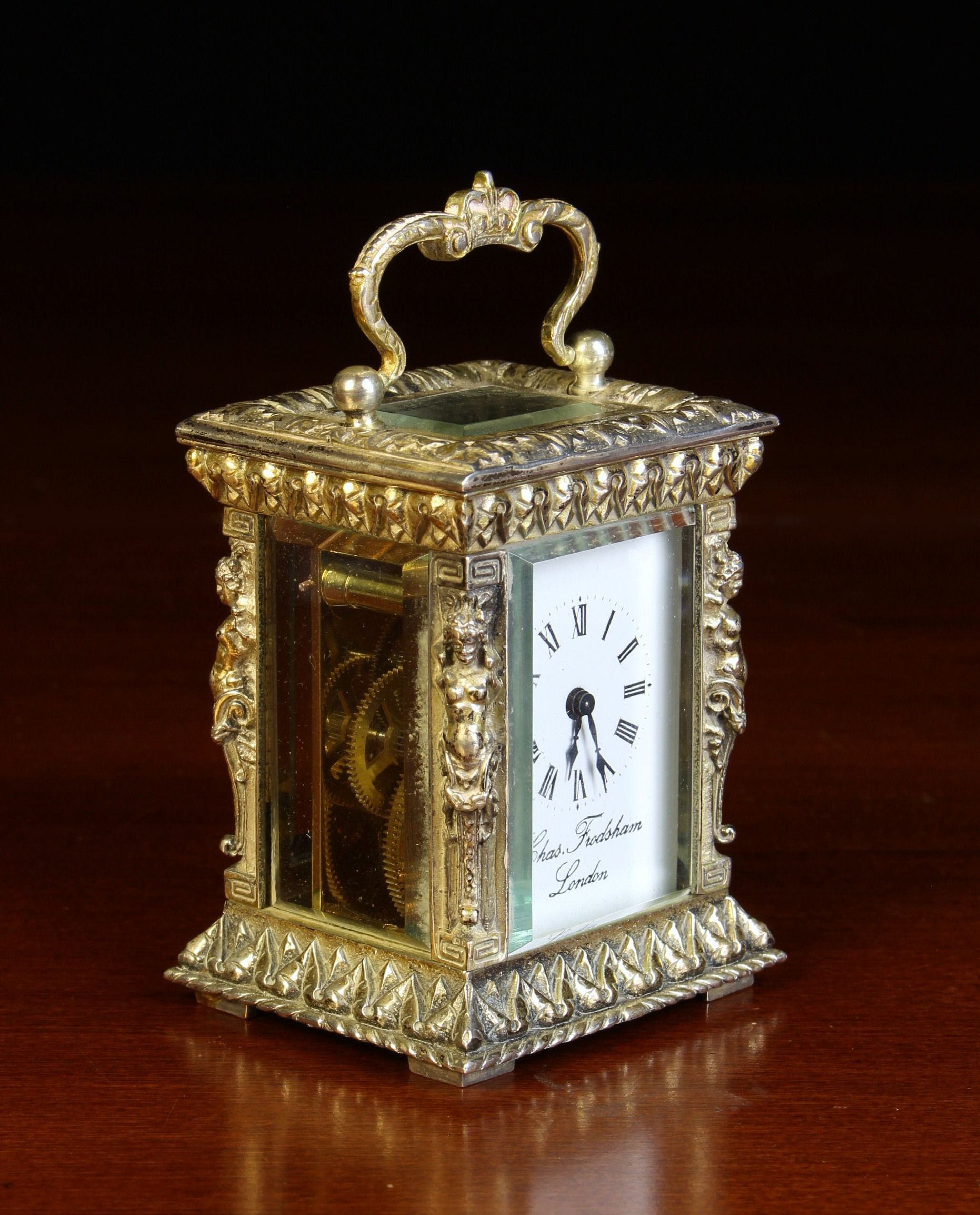 A Miniature Silver Cased Carriage Clock by Chas. Frodsham, London. - Image 2 of 3