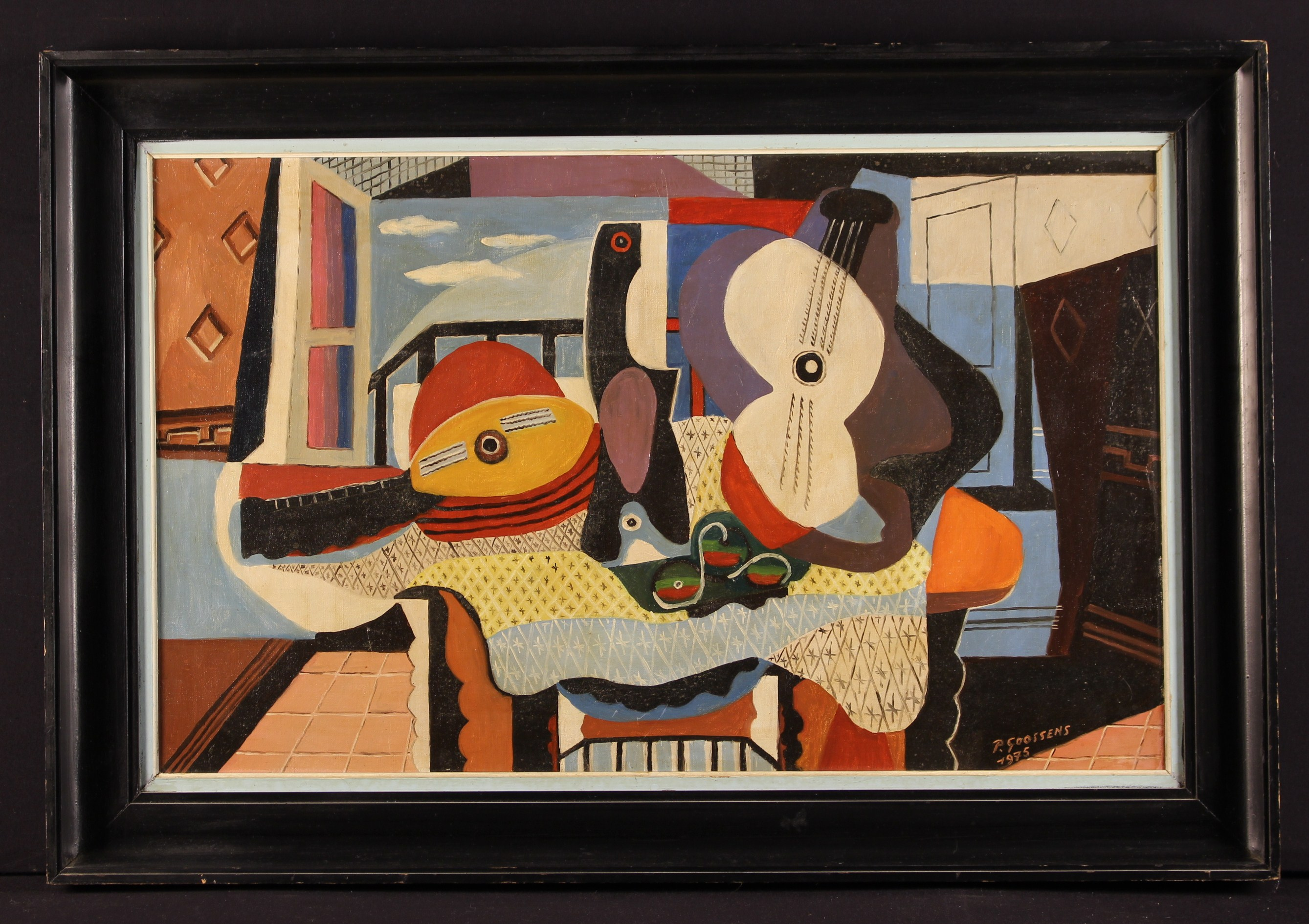 An Oil on Canvas; Abstract still life with musical instruments signed lower right P Goossens 1975,