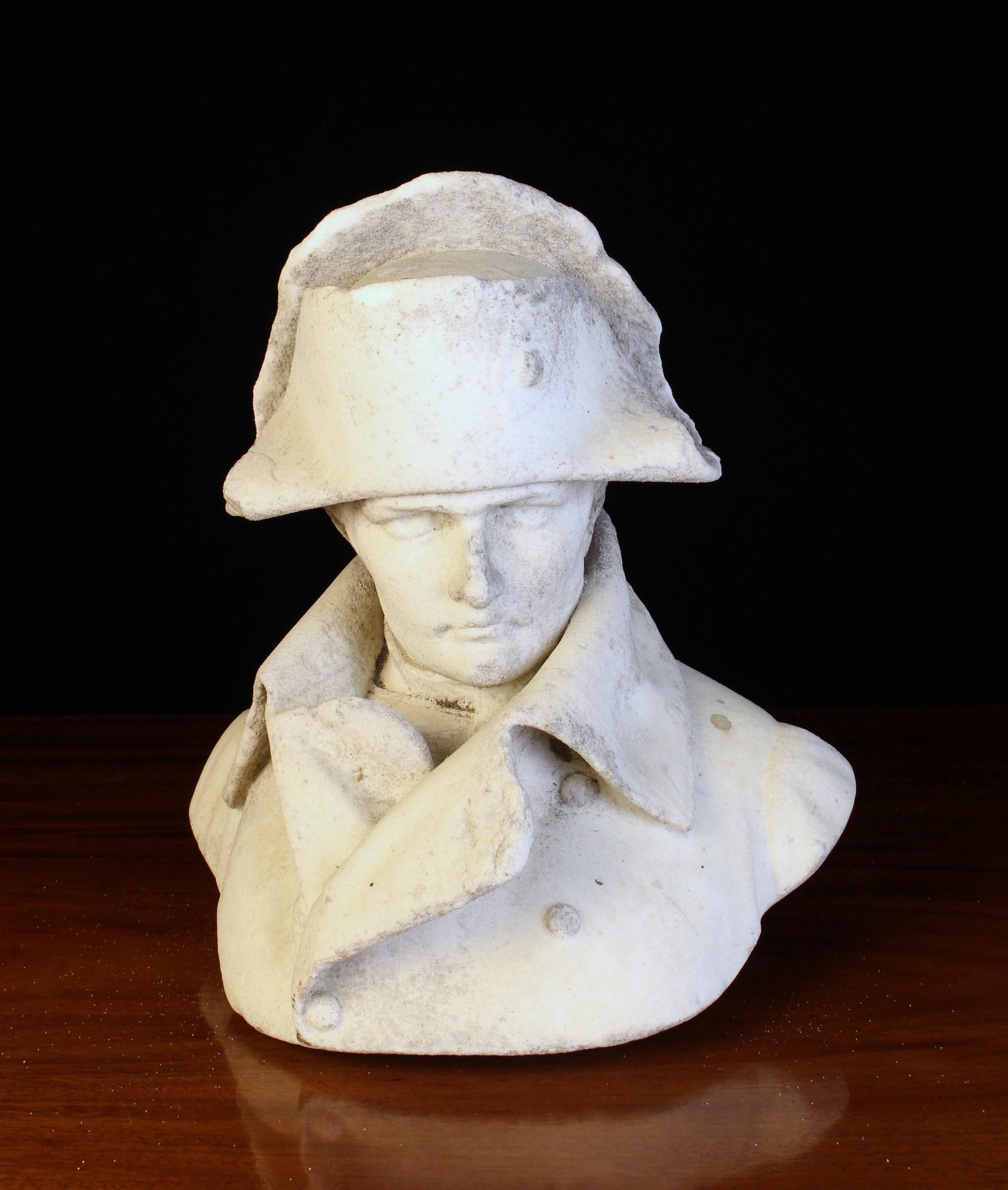A 19th Century Weather White Marble Bust of Napoleon Bonaparte, lacking scotia,