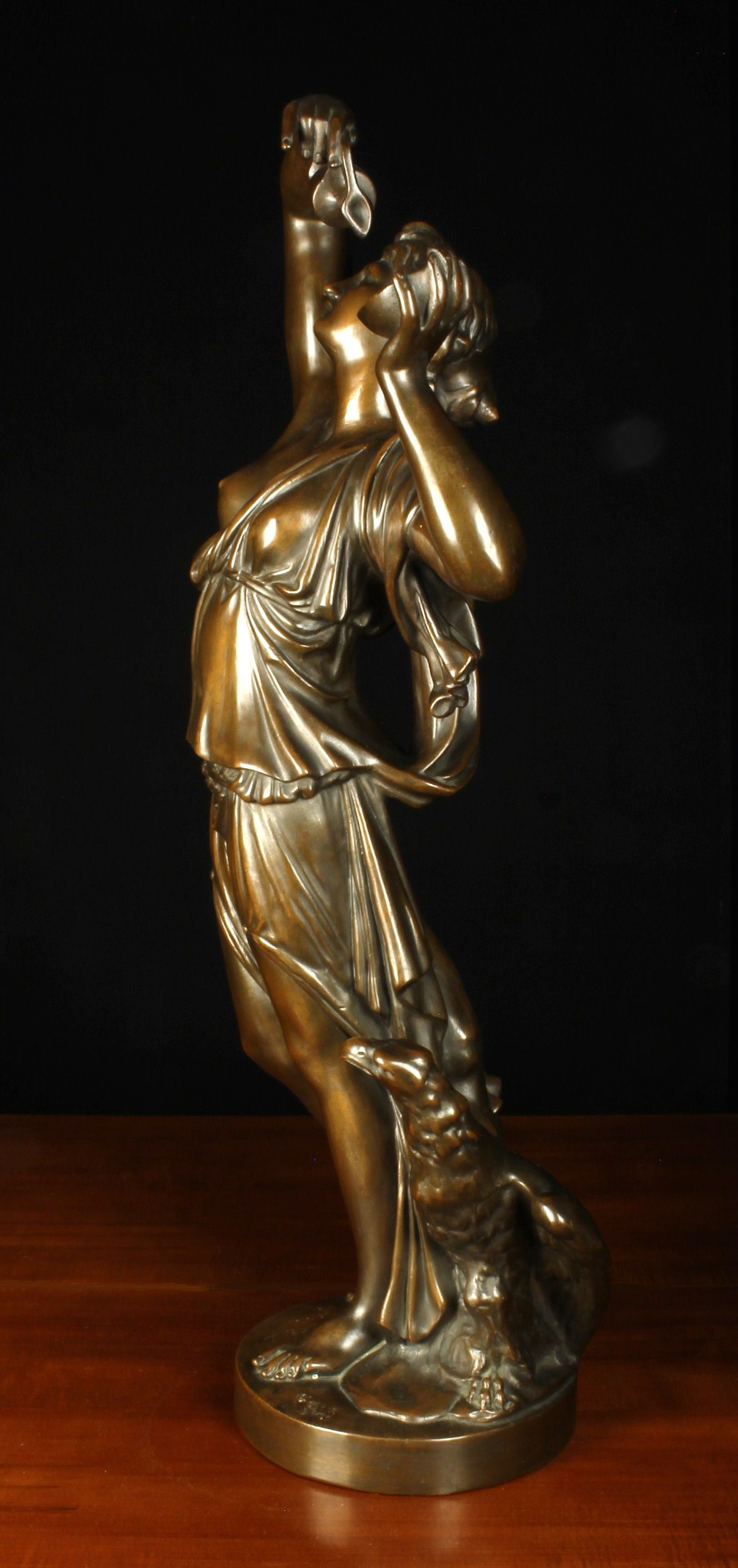 A Bronze Patinated Copper Clad Plaster Cast Figure of a nymph holding aloft an annointing ewer & - Image 2 of 3