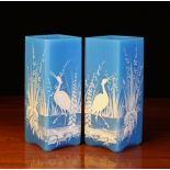 A Pair of Square Aesthetic Turquoise Glass Vases decorated with white enamelled storks amongst