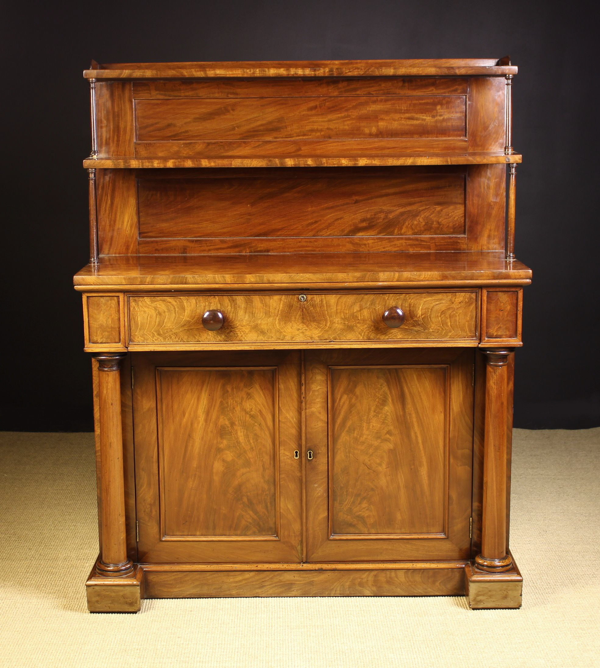 A Fine Mid 19th Century Flame Mahogany Chiffonier with Secrètaire. - Image 2 of 2