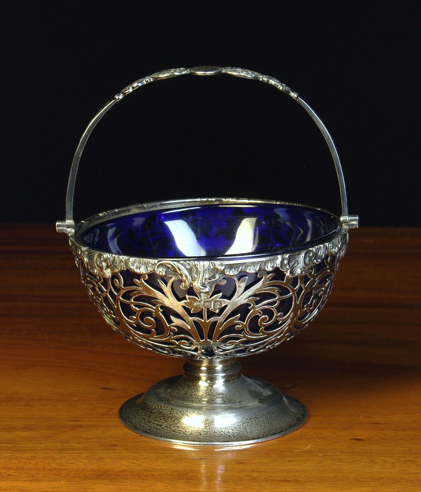 A Fine Silver Mounted Blue Glass Bowl,