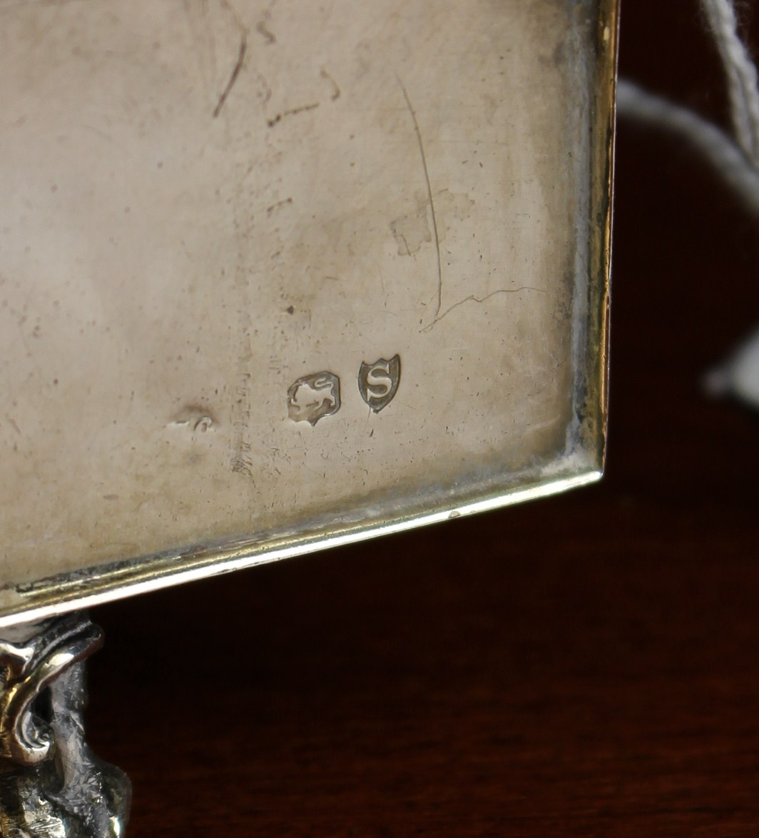 A Small Victorian Silver Cased Boudoir Clock/Watch Holder by William Comyns & Sons, - Image 5 of 5