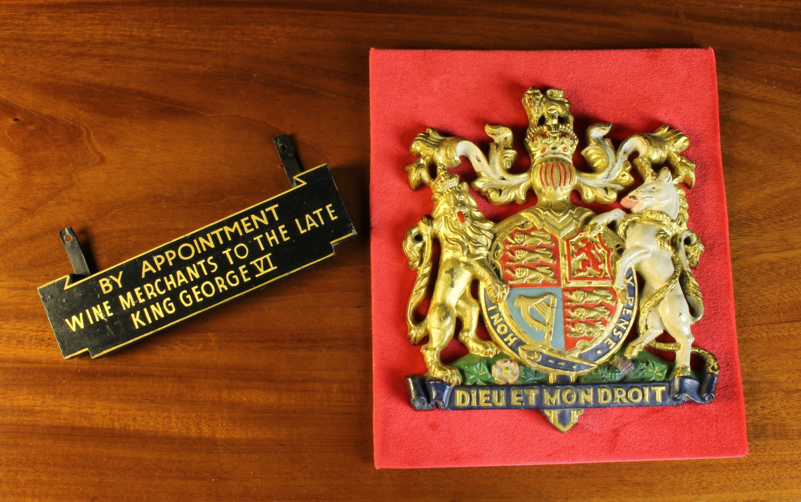 A Cast Metal Royal Crest enriched with vibrant polychrome paint-work and gilding with attached - Image 2 of 2