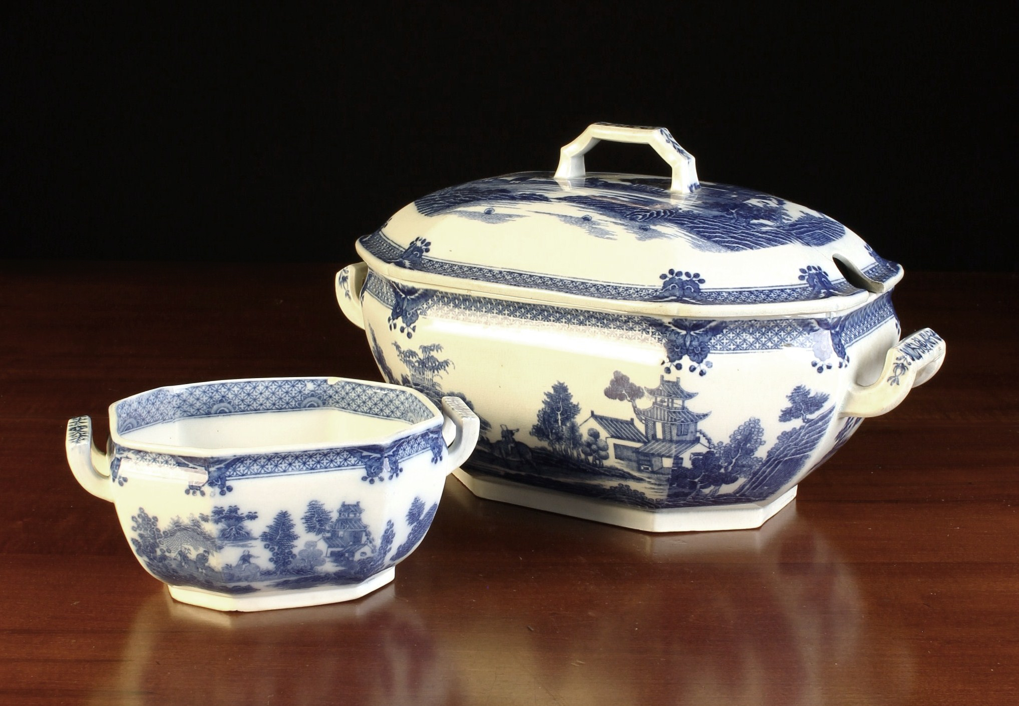 An Antique Blue & White Pearlware Soup Tureen & Cover, and a sauce/butter tureen (lacking lid).