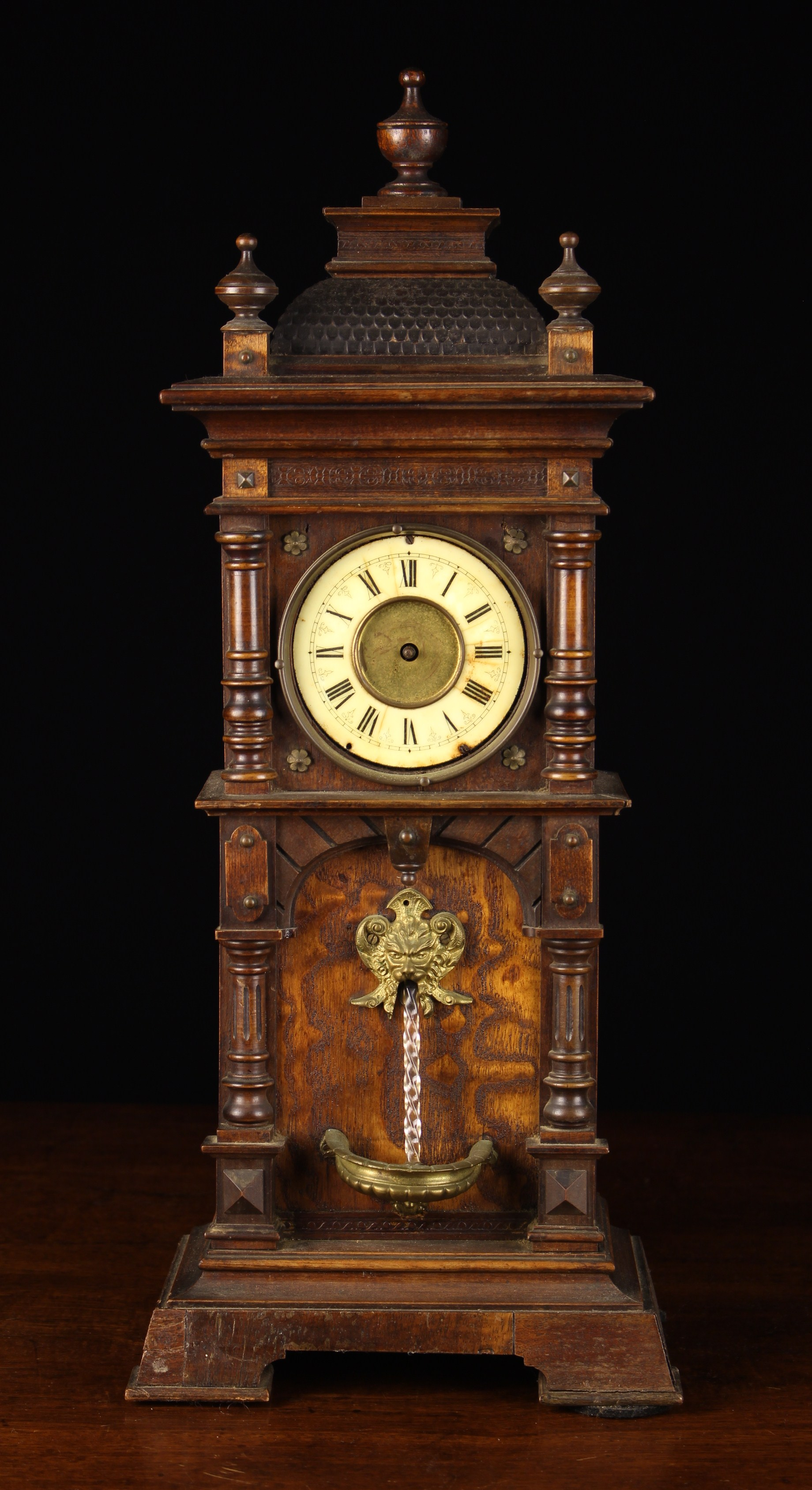 A Late 19th Century 'Water Fountain' Clock (A/F) modeled as a grandfather clock with a gilt metal
