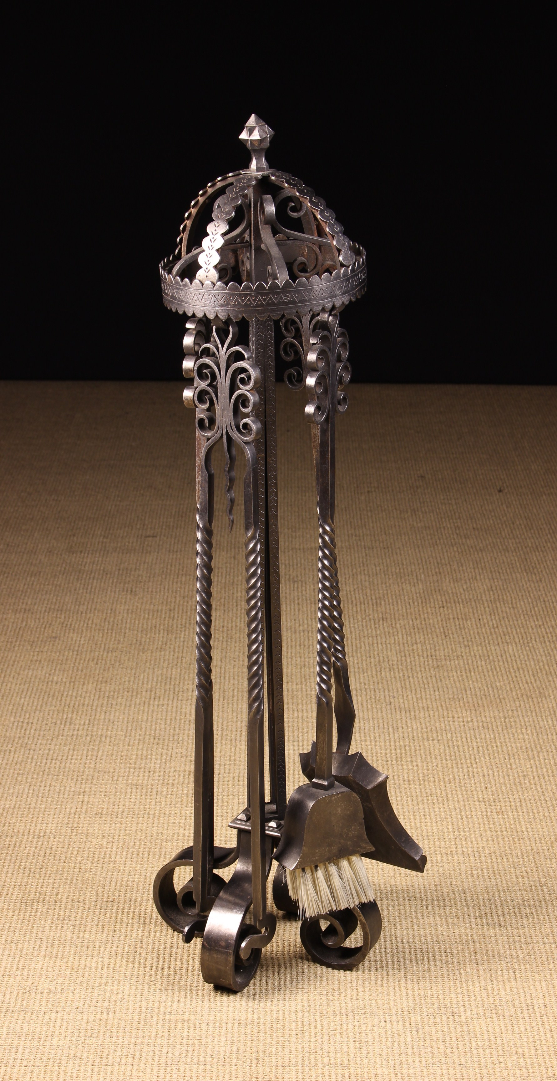 A Handsome Arts & Crafts Style Wrought Iron Fire Companion Set. - Image 2 of 2
