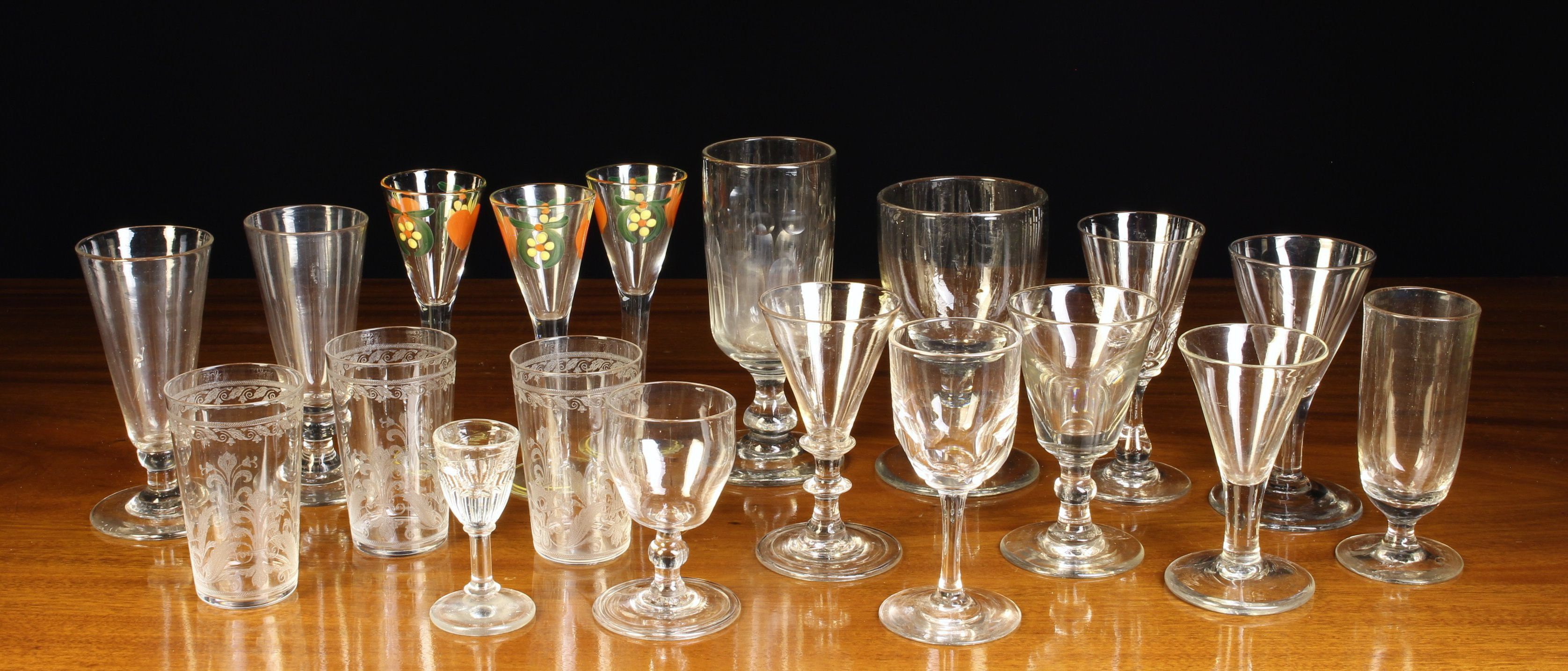 A Small Group of 19th Century & Later Glass including three liquor glasses with painted funnel