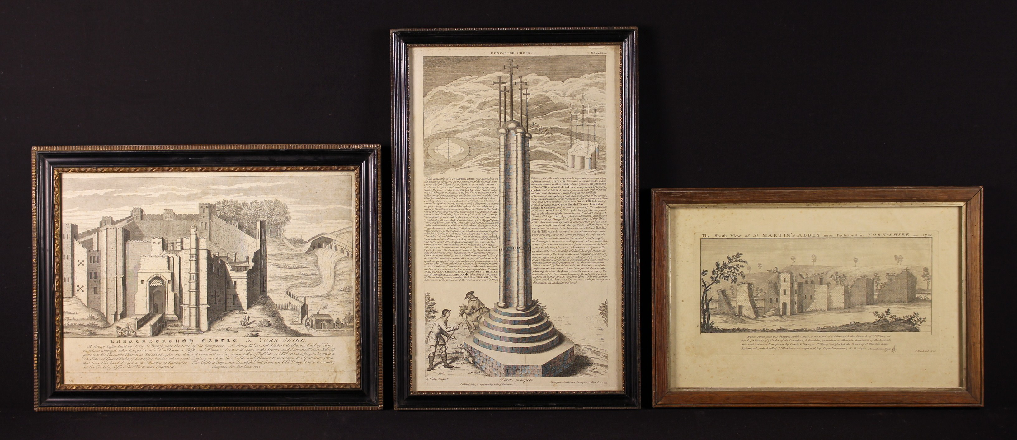 Three Framed 18th Century Engravings of Yorkshire: 'The South View of St Martin's Abbey near