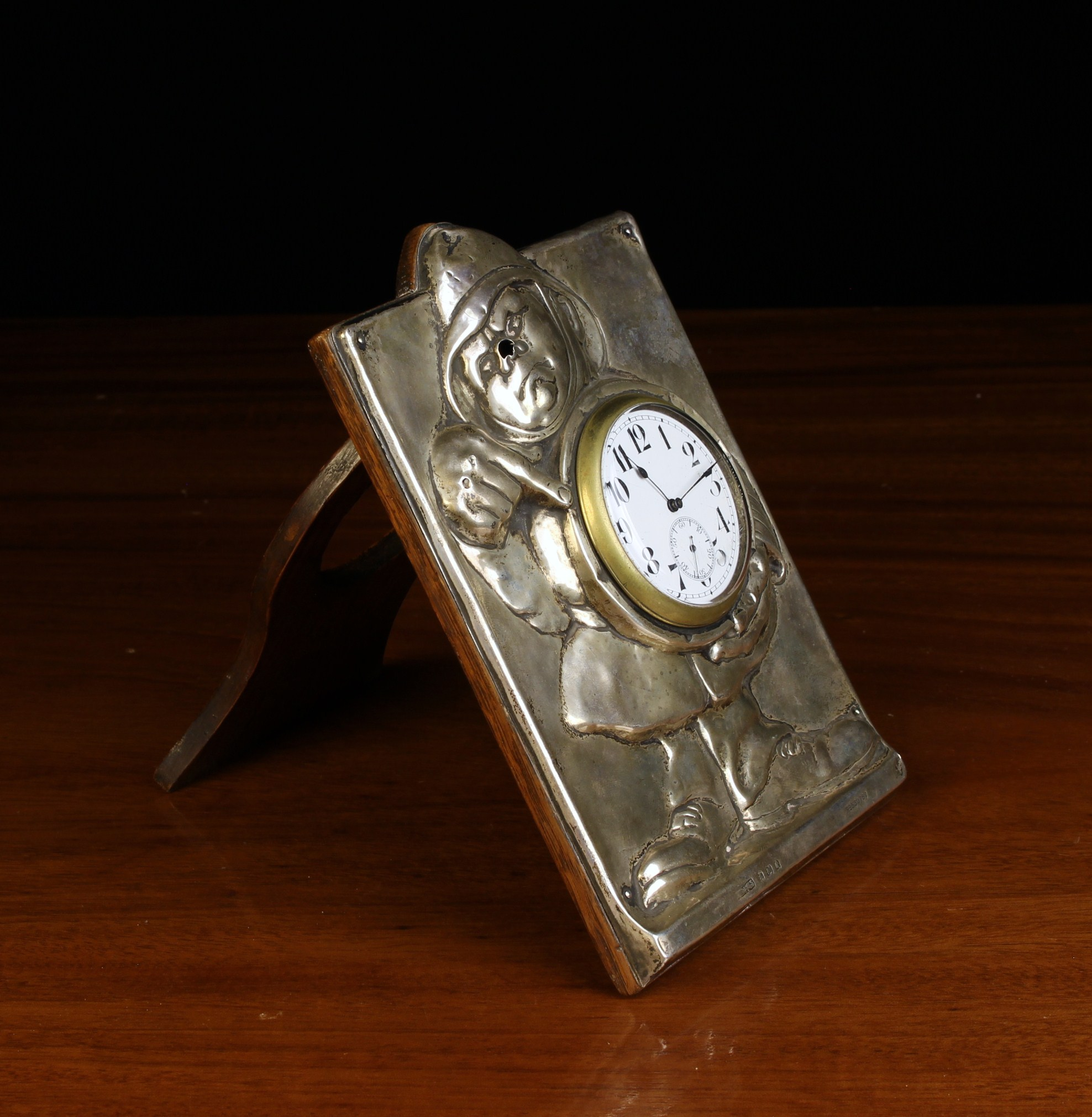 An Early 20th Century Novelty Silver Clad Strut Clock hallmarked Birmingham 1908 and numbered Rd - Image 2 of 2