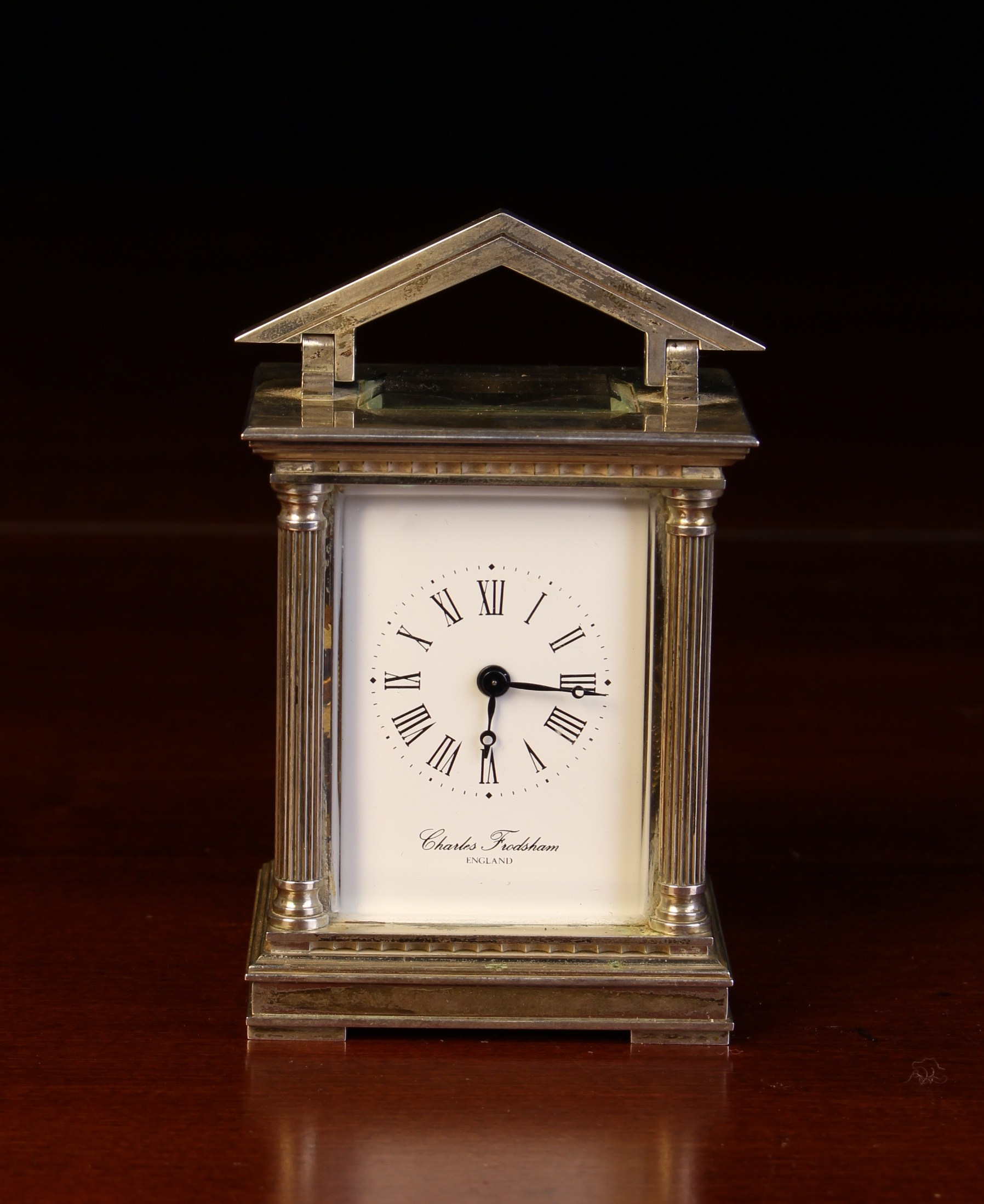 A Miniature Limited Edition Silver Carriage Clock by Chas.