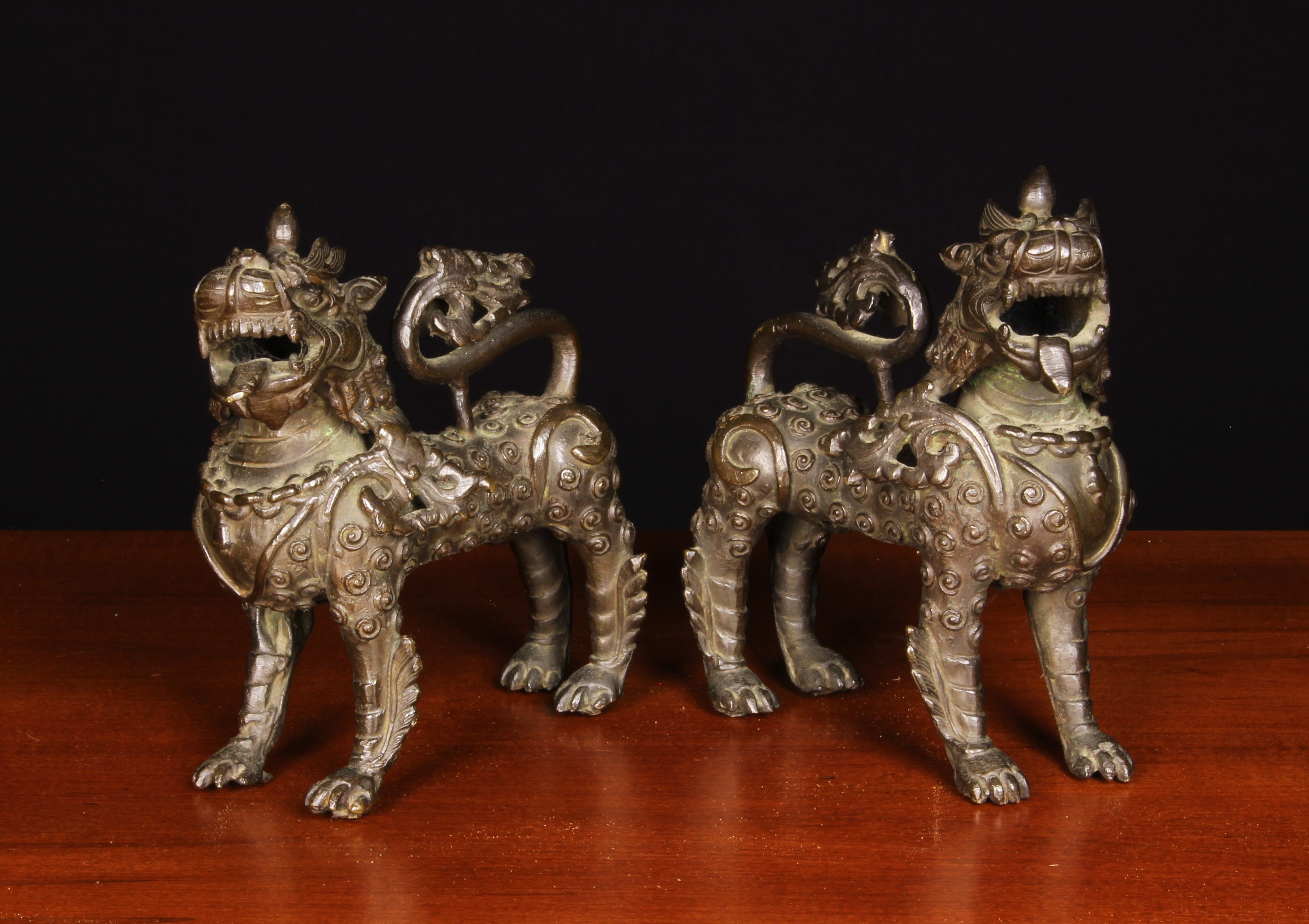 A Pair of Antique Bronze Kylins. - Image 2 of 2