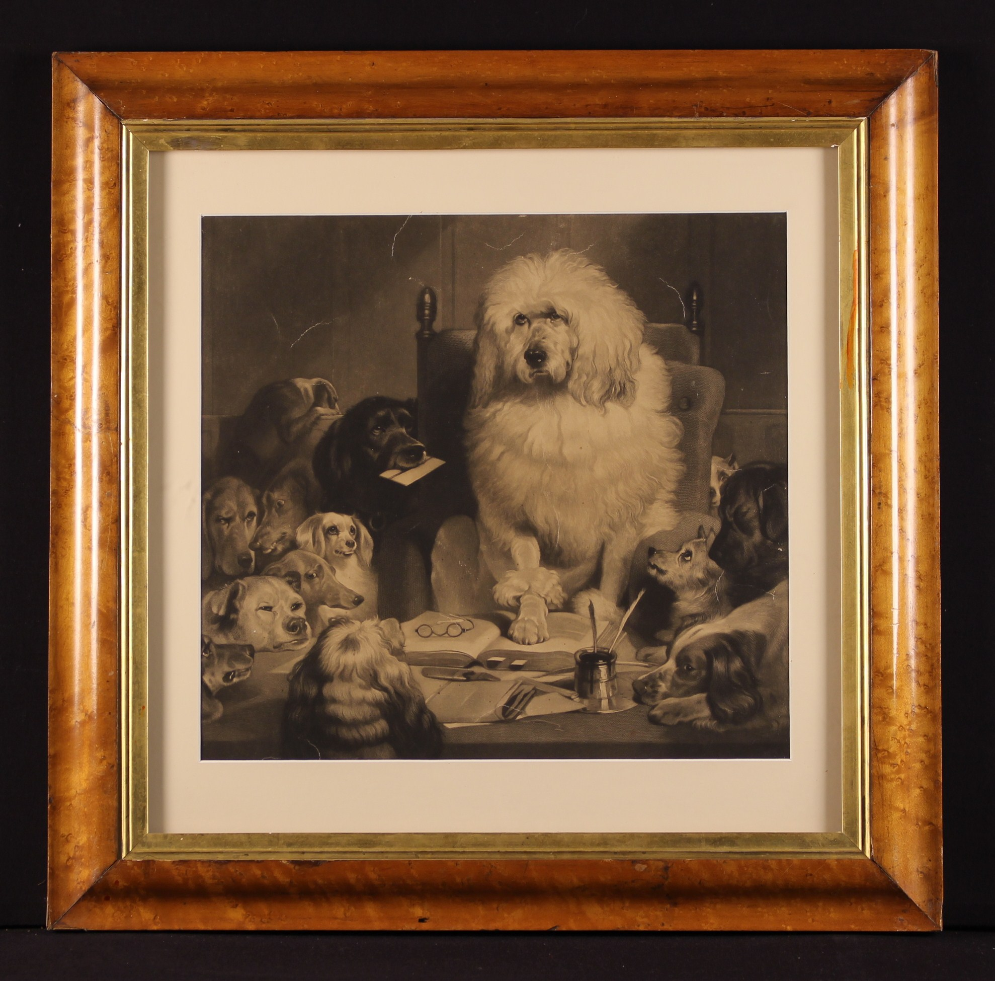 """A Monochrome Print (A/F) after a painting by Landseer entitled """"Laying Down the Law"""" or """"Trial by"""