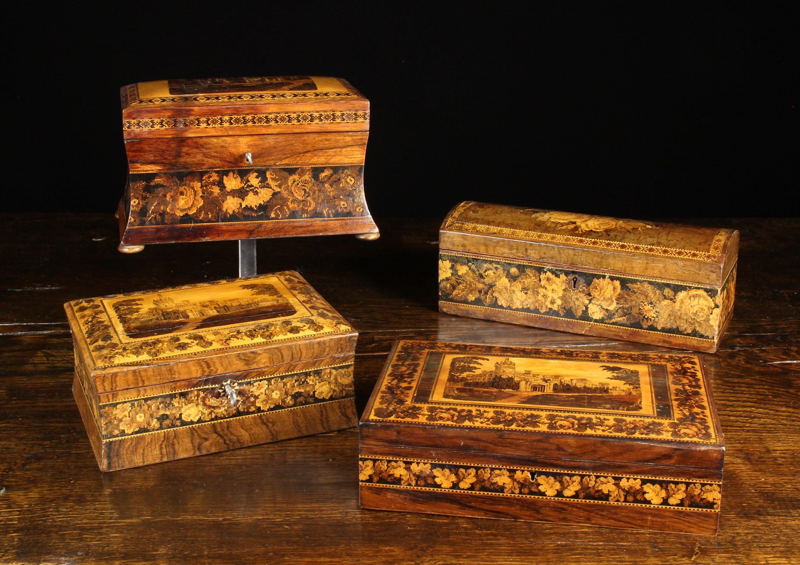 A Group of Four Victorian Tunbridge Ware Boxes intricately inlaid with micro-mosaic wooden tesserae