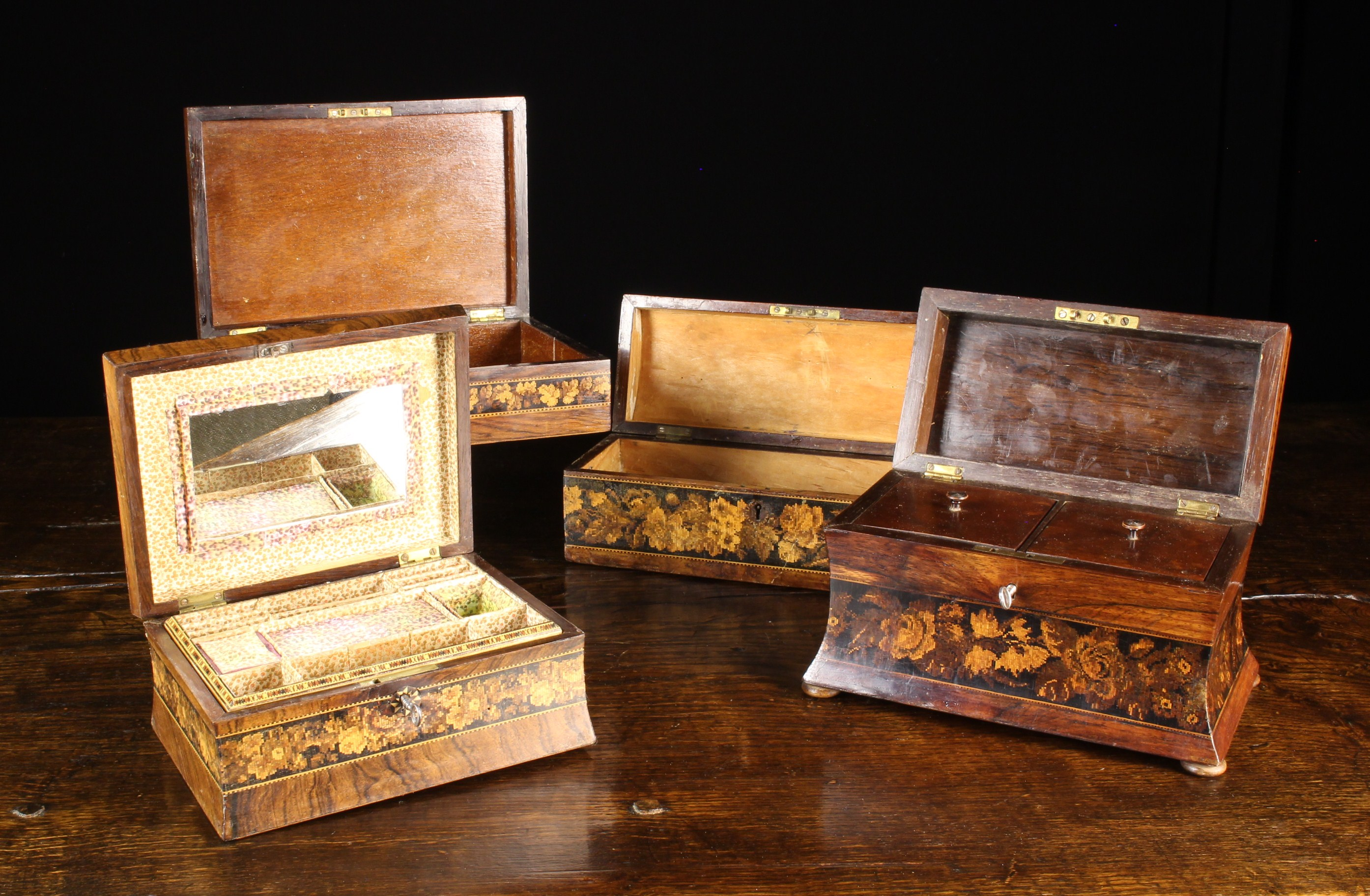 A Group of Four Victorian Tunbridge Ware Boxes intricately inlaid with micro-mosaic wooden tesserae - Image 2 of 2