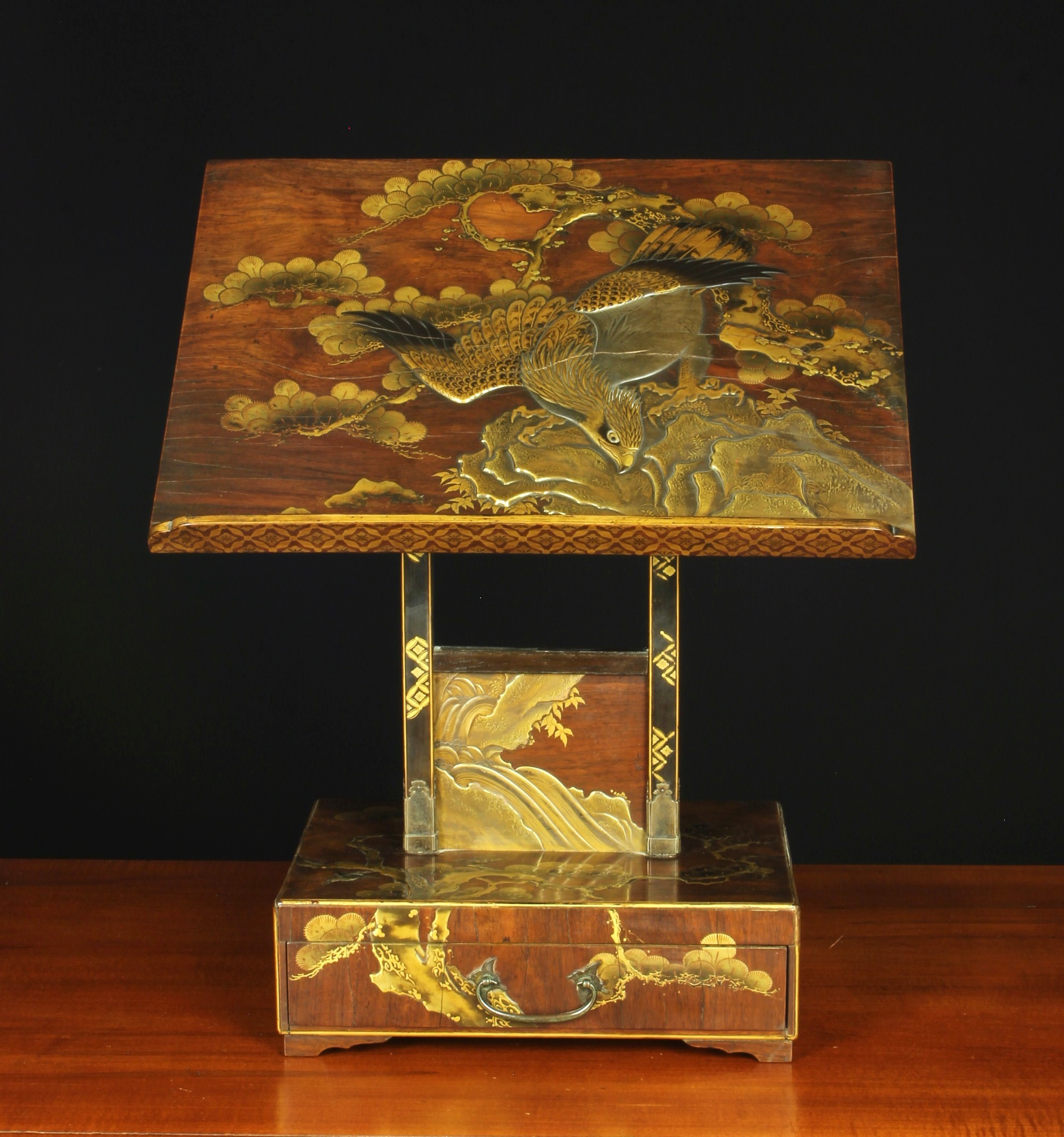 A Fine 19th Century Oriental Lacquered Rosewood Book Stand with drawer. - Image 2 of 2
