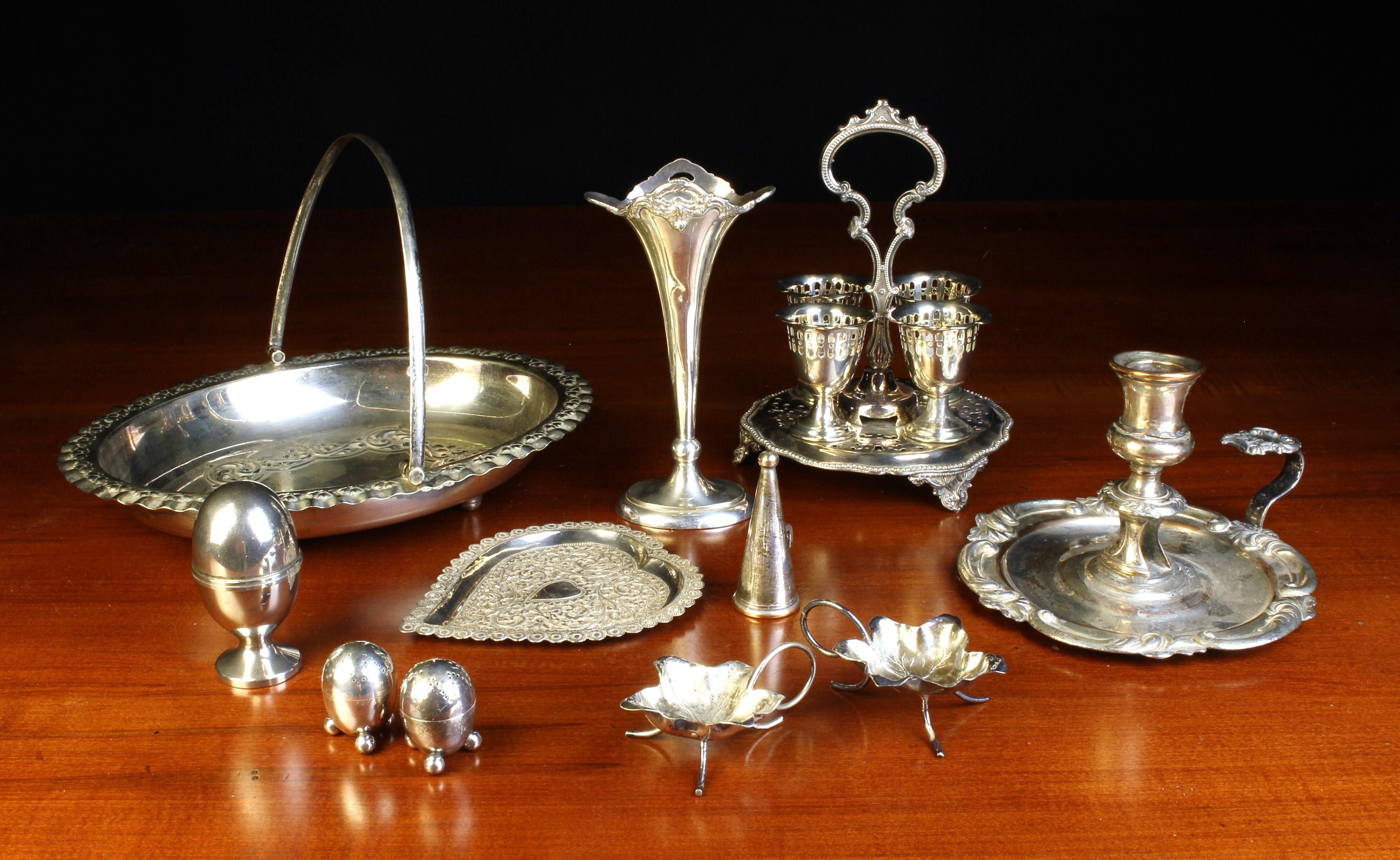 A Group of Decorative Silver Plated Wares: A Pretty Edwardian Eggcup Cruet with four pierced