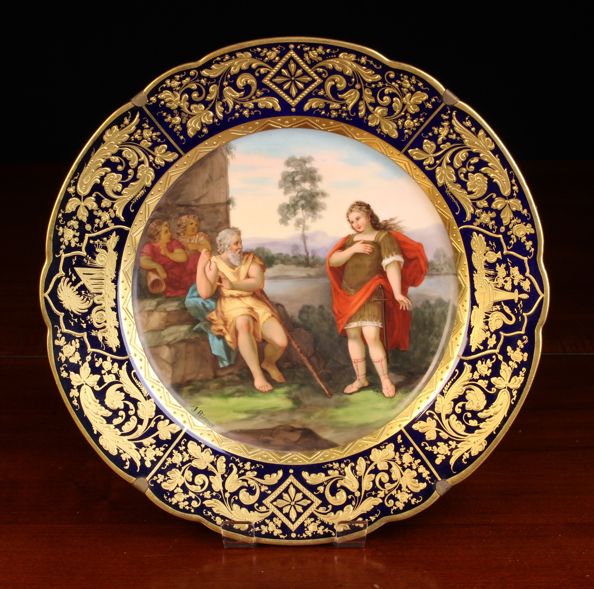 A Antique Royal Vienna Style Porcelain Cabinet Plate with C.M. Hutschenreather mark.