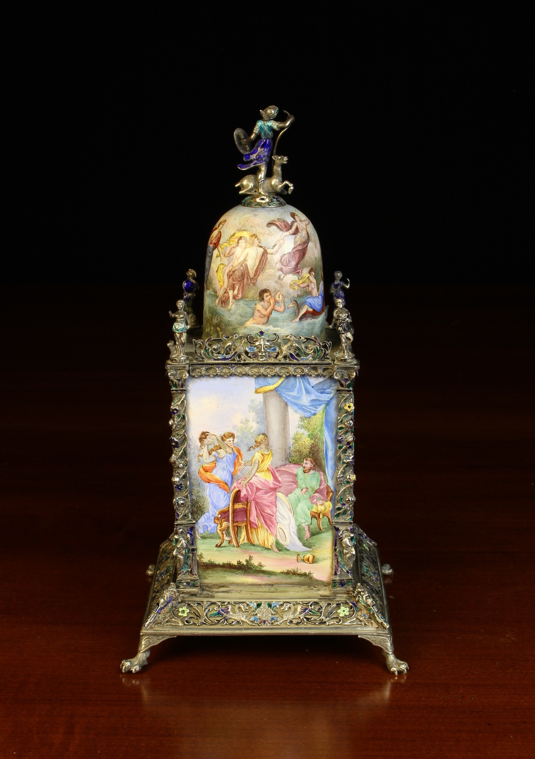 A Small & Highly Decorative Vienna Enamel Table Clock. - Image 4 of 4