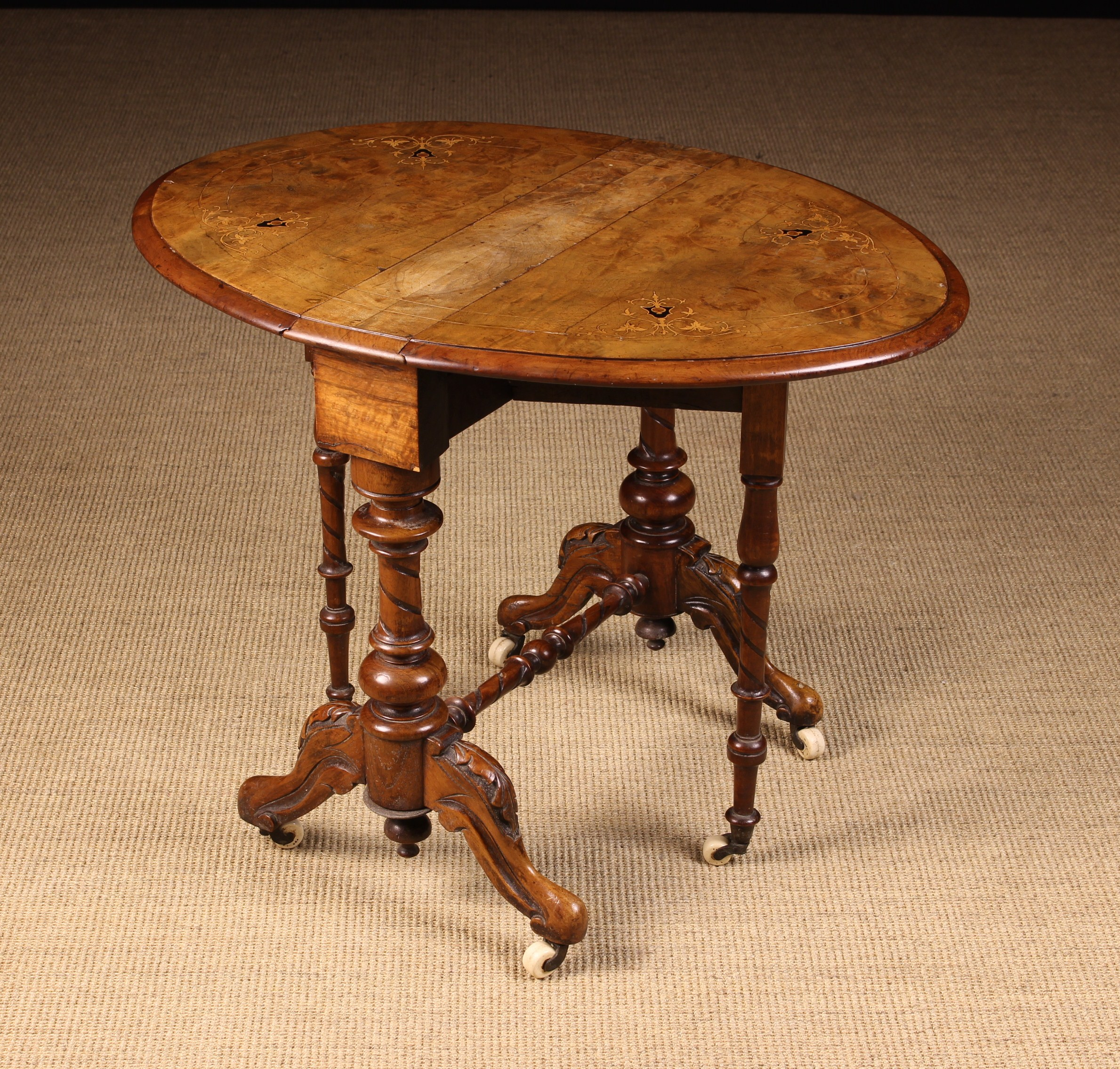 A Small Victorian Figured Walnut Sutherland Table. - Image 2 of 2