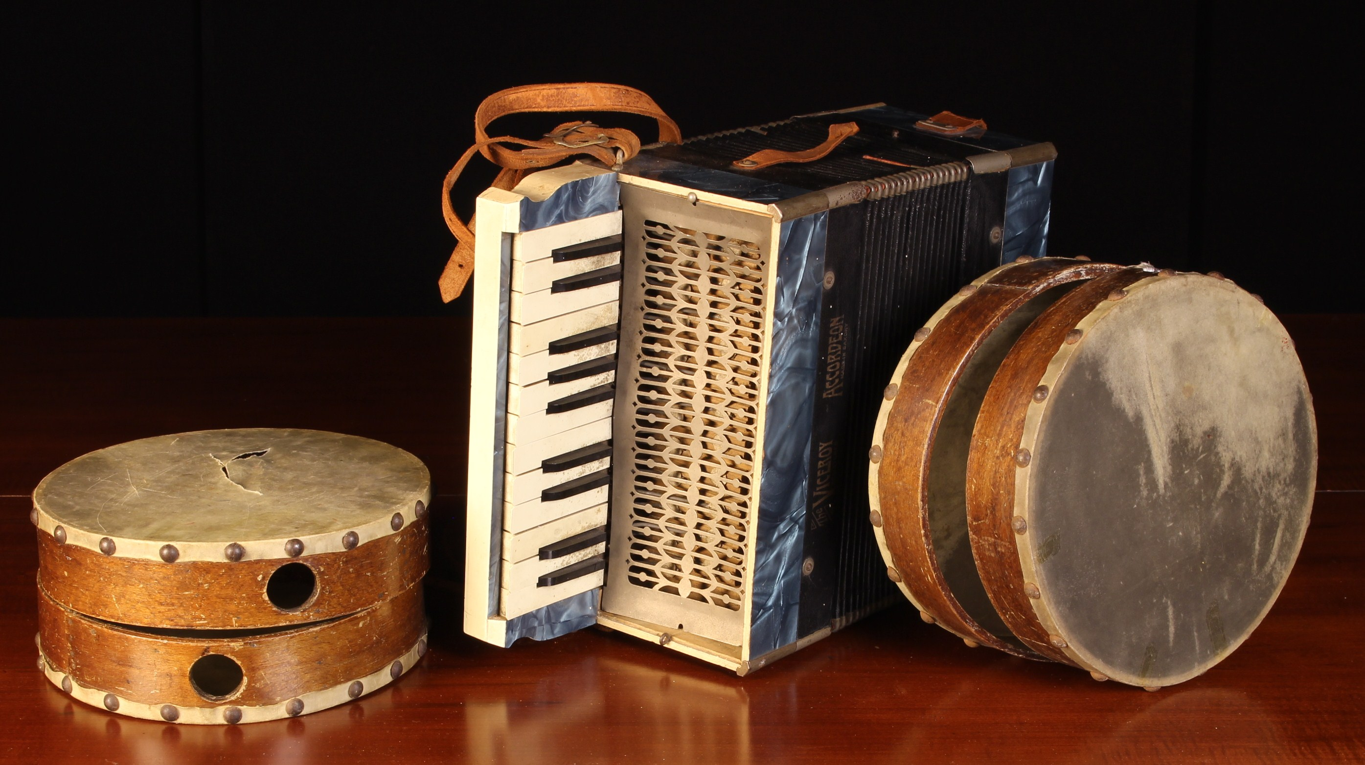 A Vintage Accordion; 'The Viceroy' Junior model, made in Saxony, and four vintage tambourines (A/F). - Image 2 of 3
