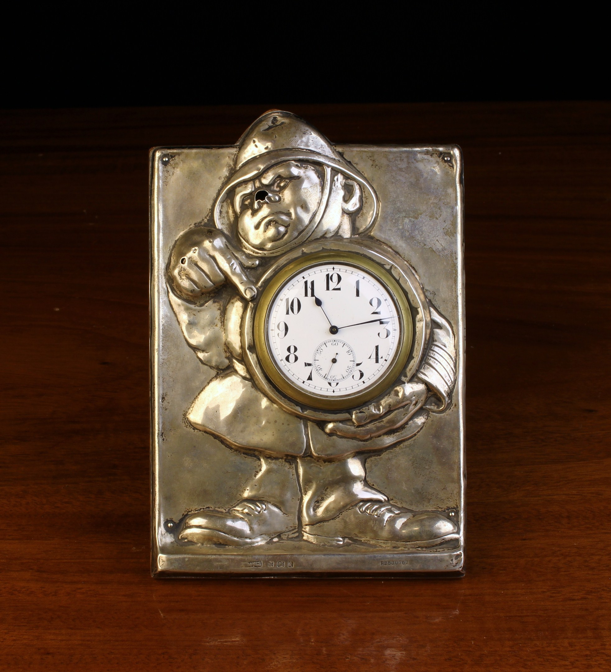 An Early 20th Century Novelty Silver Clad Strut Clock hallmarked Birmingham 1908 and numbered Rd