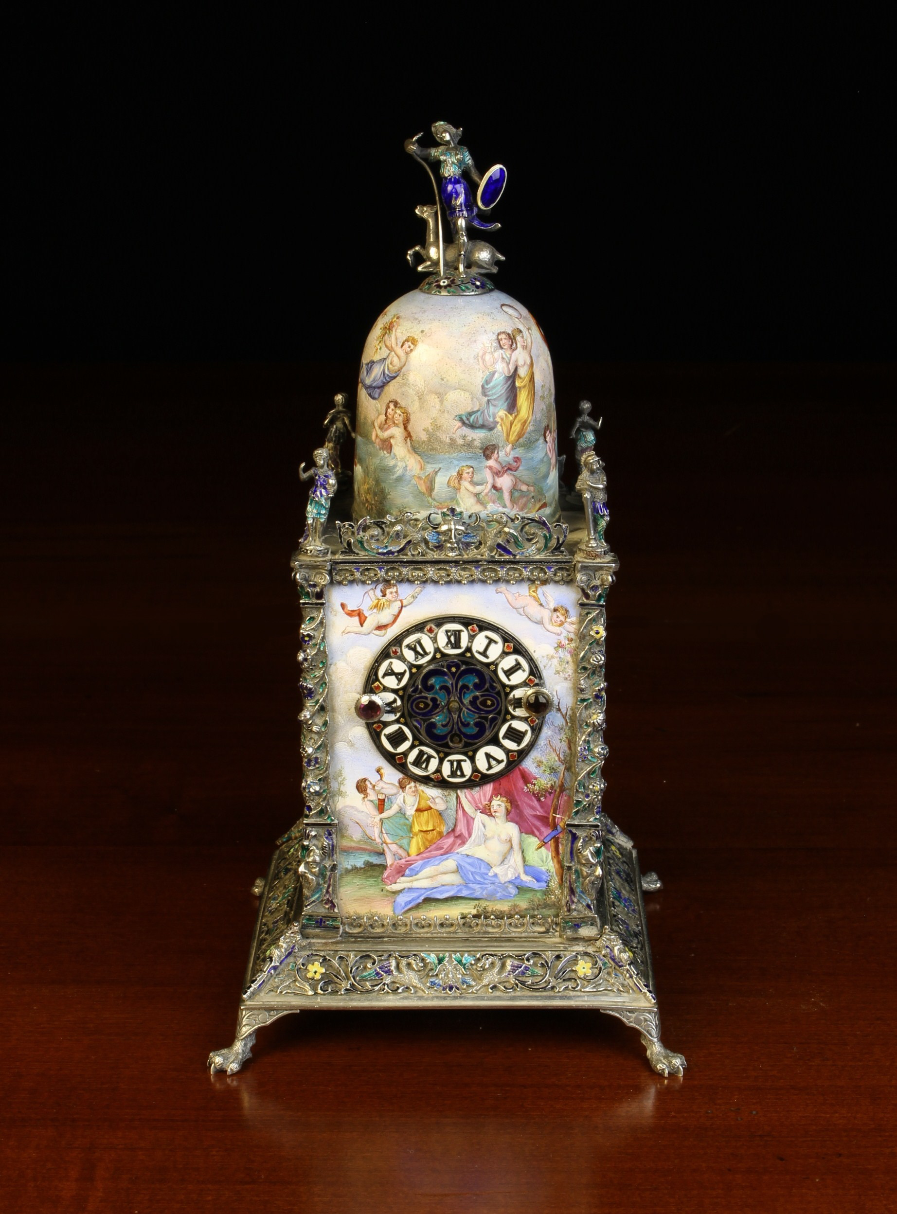 A Small & Highly Decorative Vienna Enamel Table Clock.