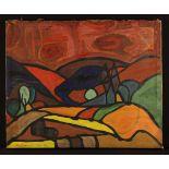 An Unframed Oil on Canvas: Abstract,