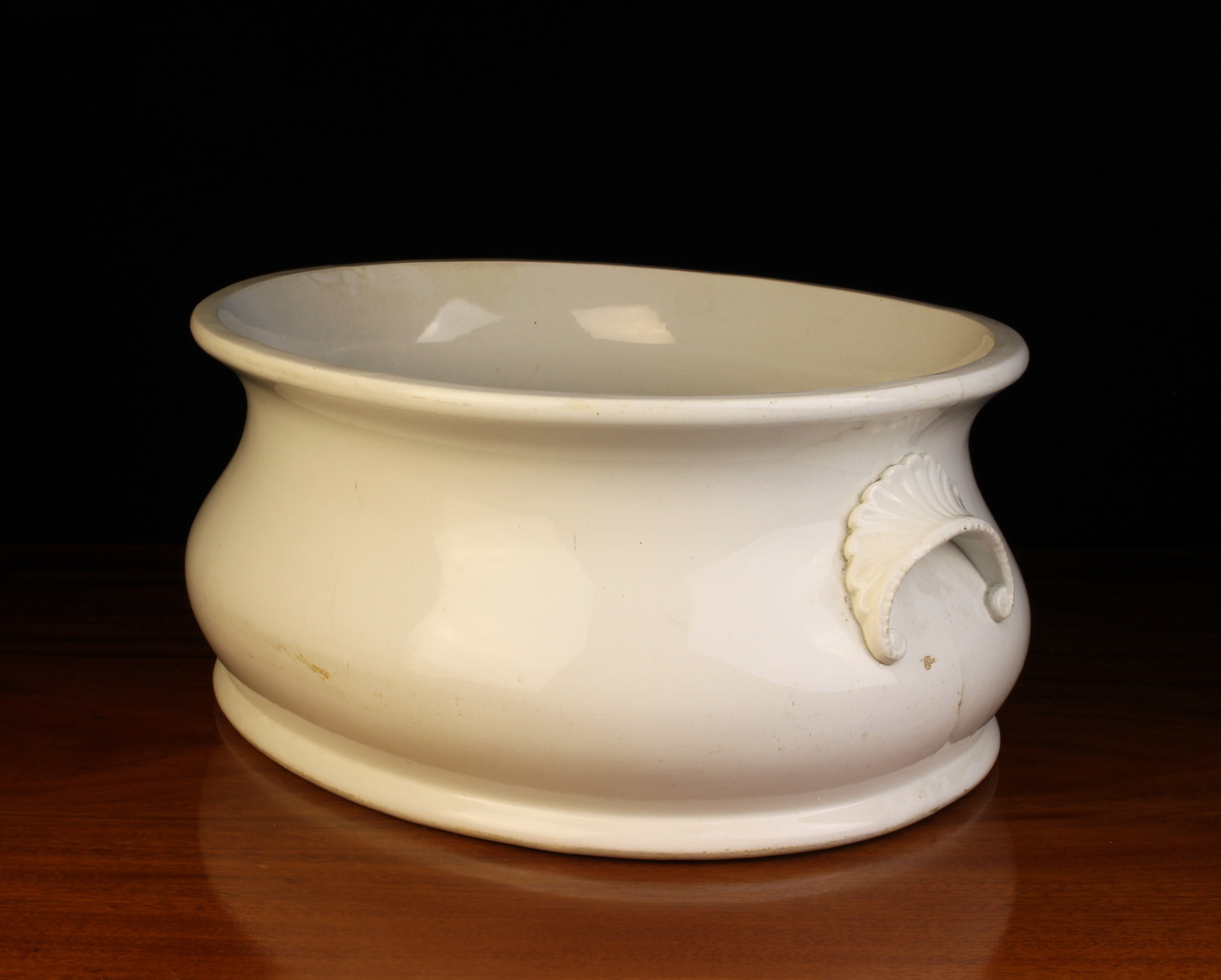 A 19th Century White Glazed Belleek Pottery Foot Bath with decorative moulded lip handles either - Image 3 of 3