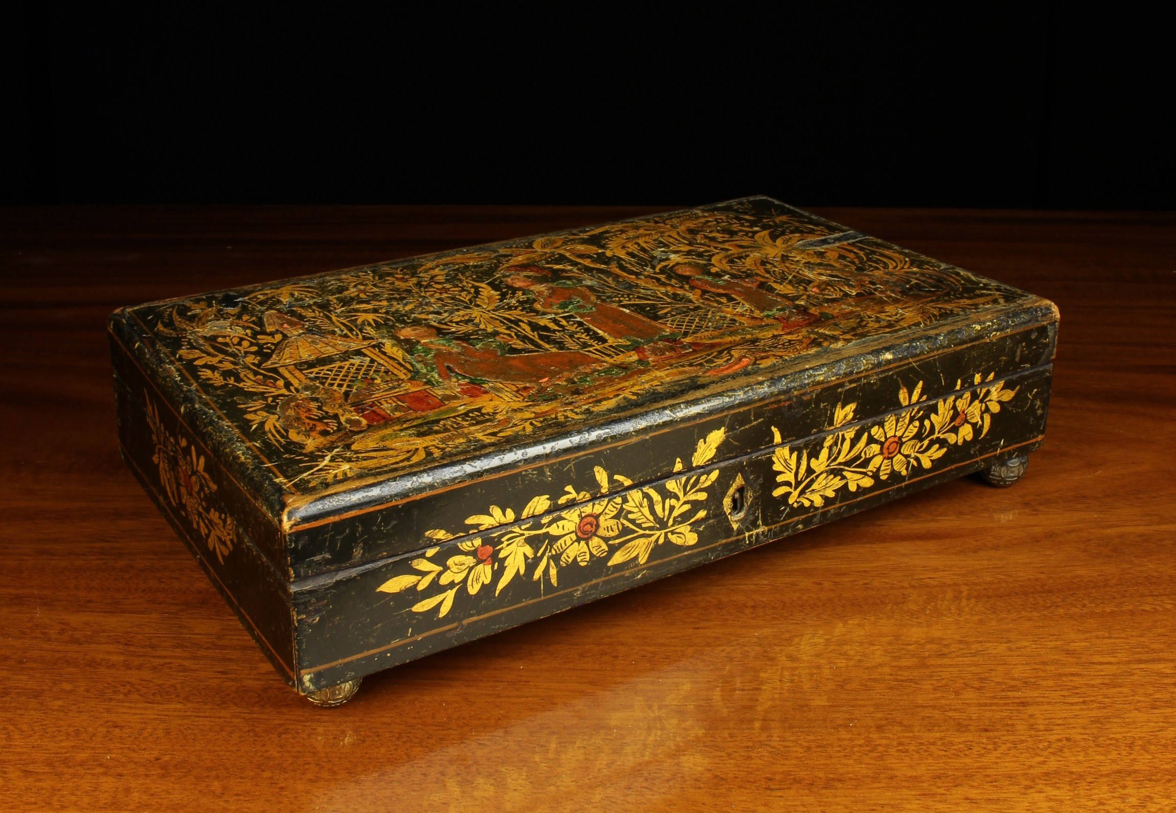 A Georgian Japanned Box of rectangular form. - Image 3 of 3