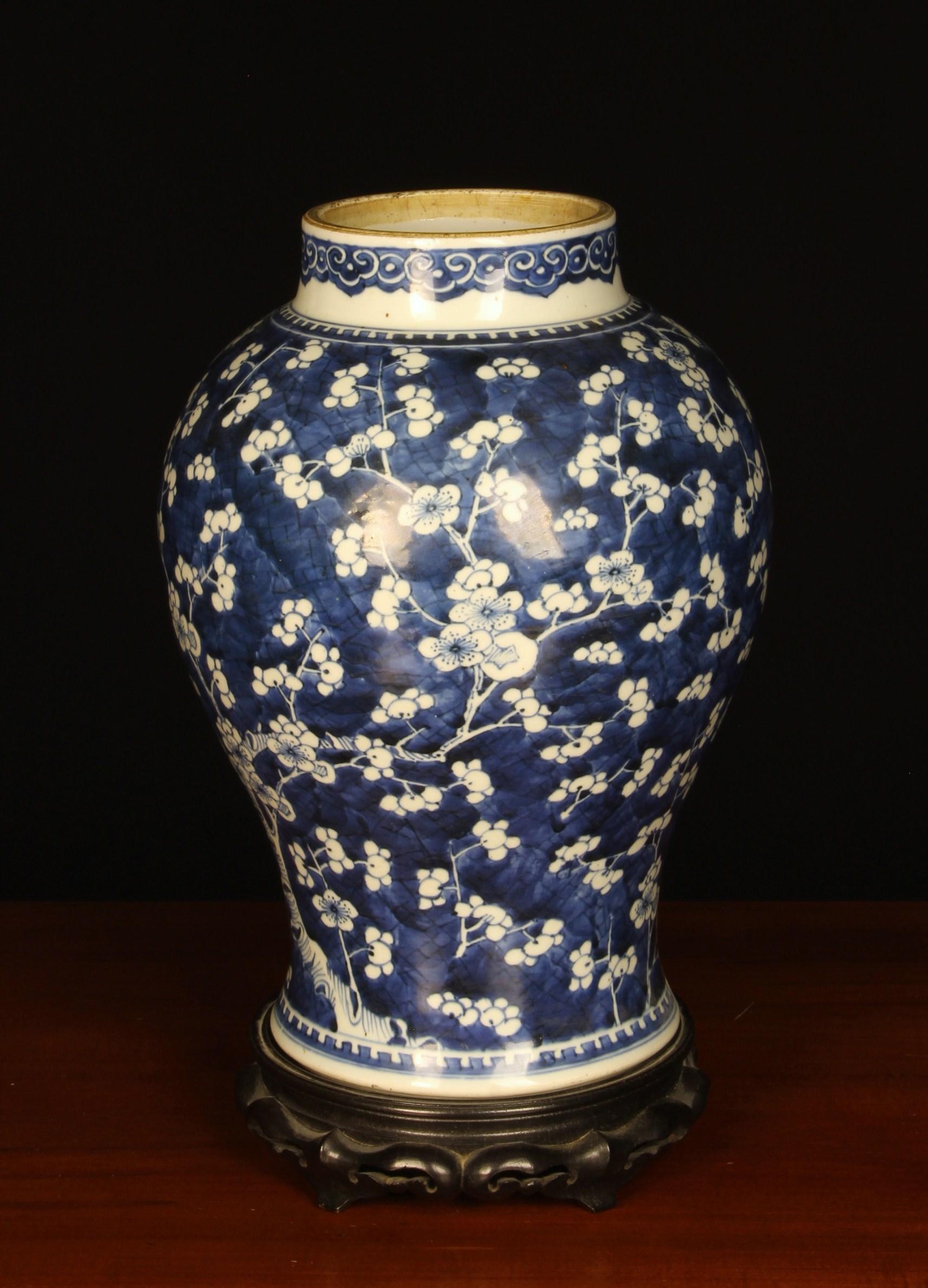 A Kangxi Blue & White Vase of rising baluster form.