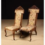 A Pair of Unusual 19th Century Walnut High-backed Side Chairs.