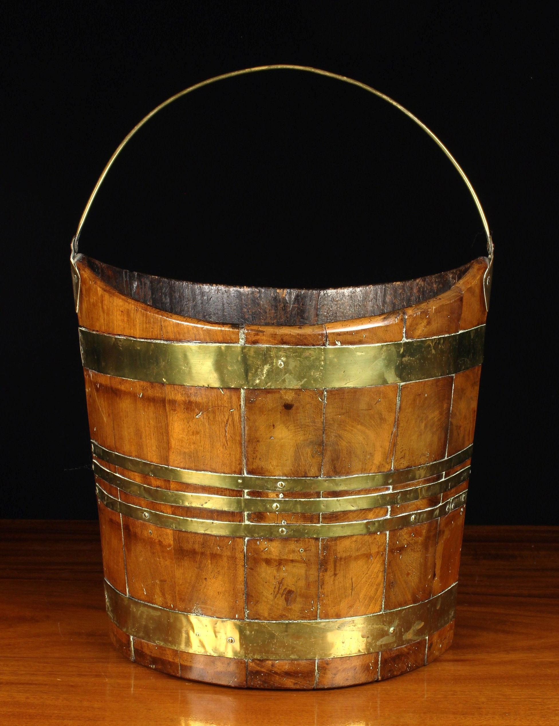 An Early 19th Century Navette Form Peat Bucket with brass bound mahogany staves and a brass swing - Image 2 of 2